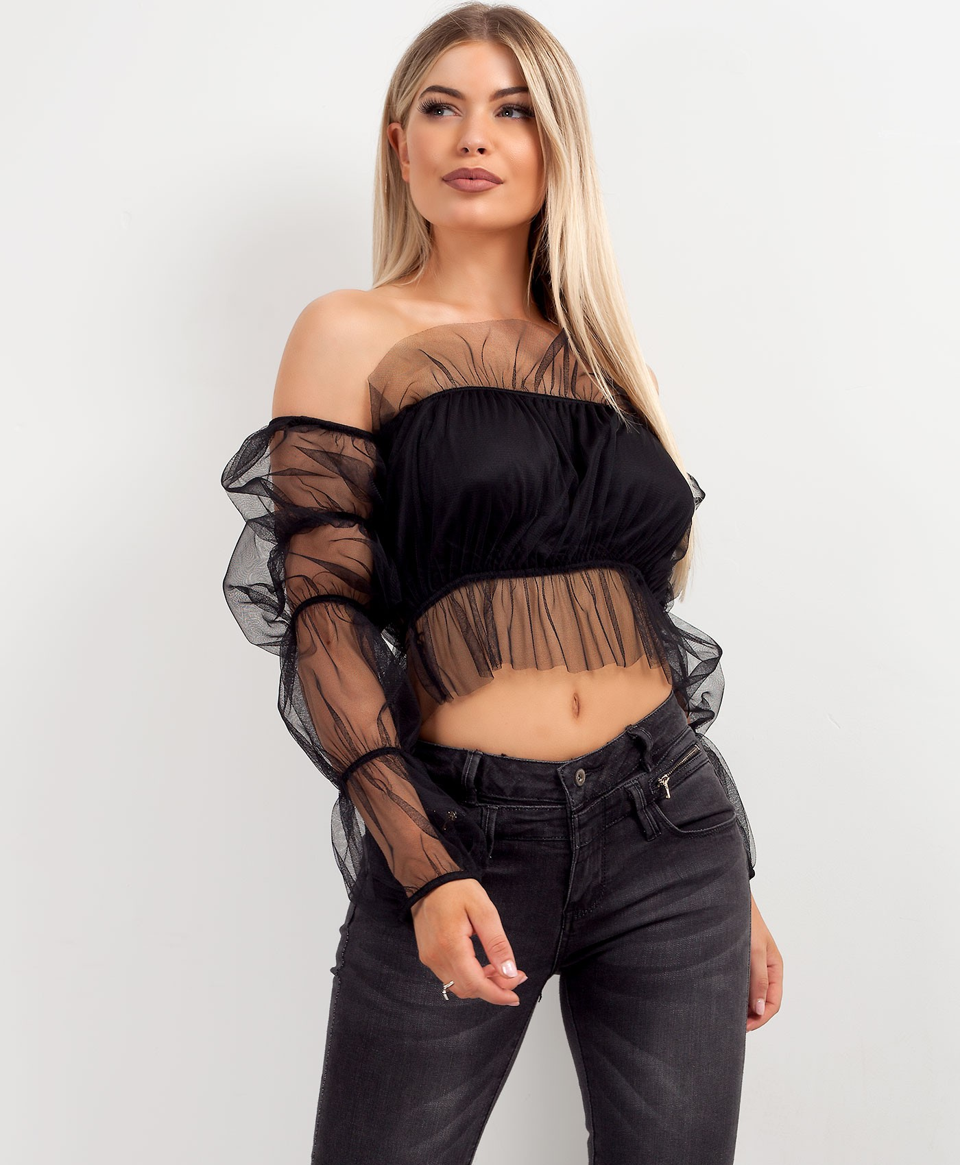 Black Long Sleeve Tulle Mesh Frill Crop Top