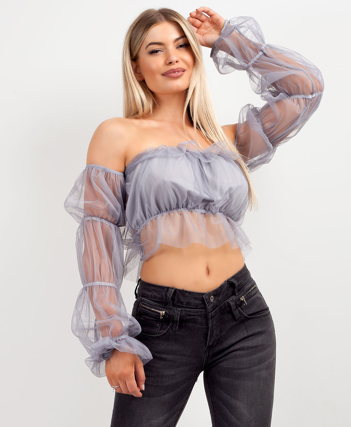 Grey Long Sleeve Tulle Mesh Frill Crop Top