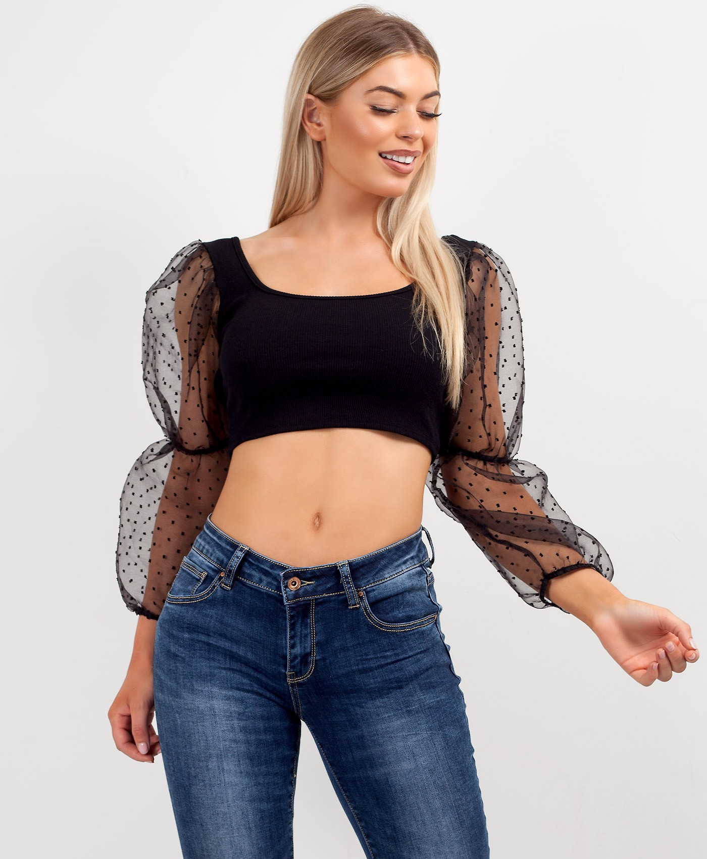 Black Sheer Mesh Polka Dot Sleeve Ribbed Crop Top