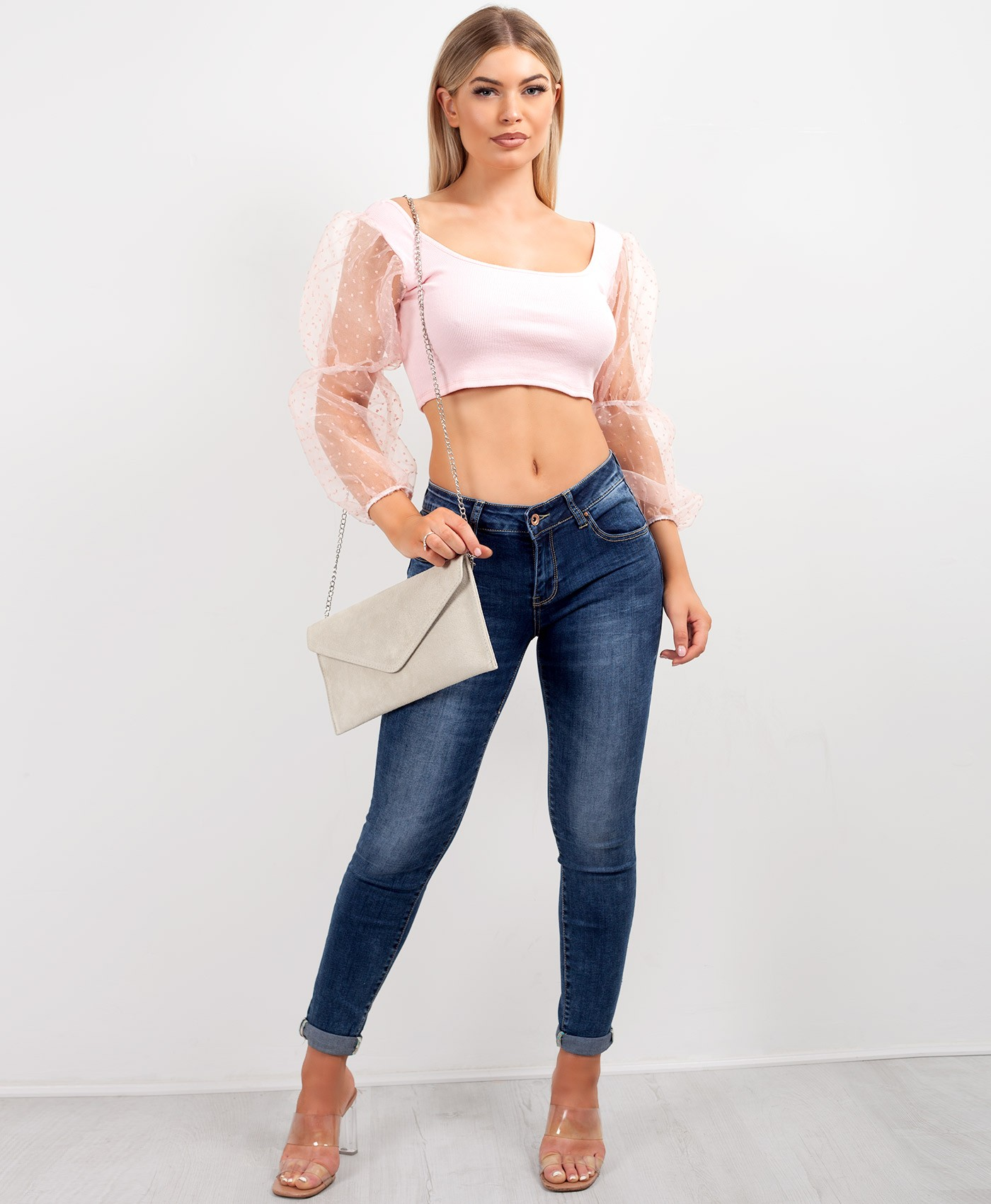 Pink-Polka-Dot-Organza-Sleeve-Ribbed-Crop-Top-1