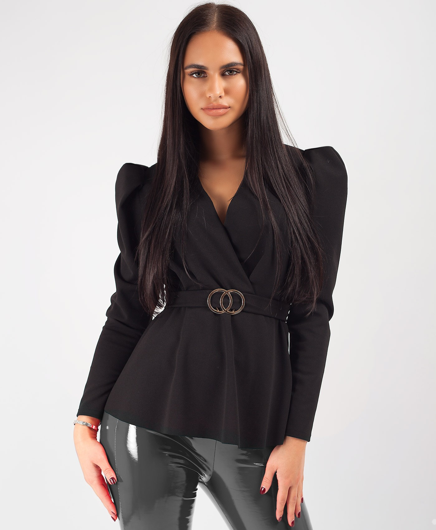 Black-Double-Ring-Belt-Puff-Sleeve-Blouse-Top-1