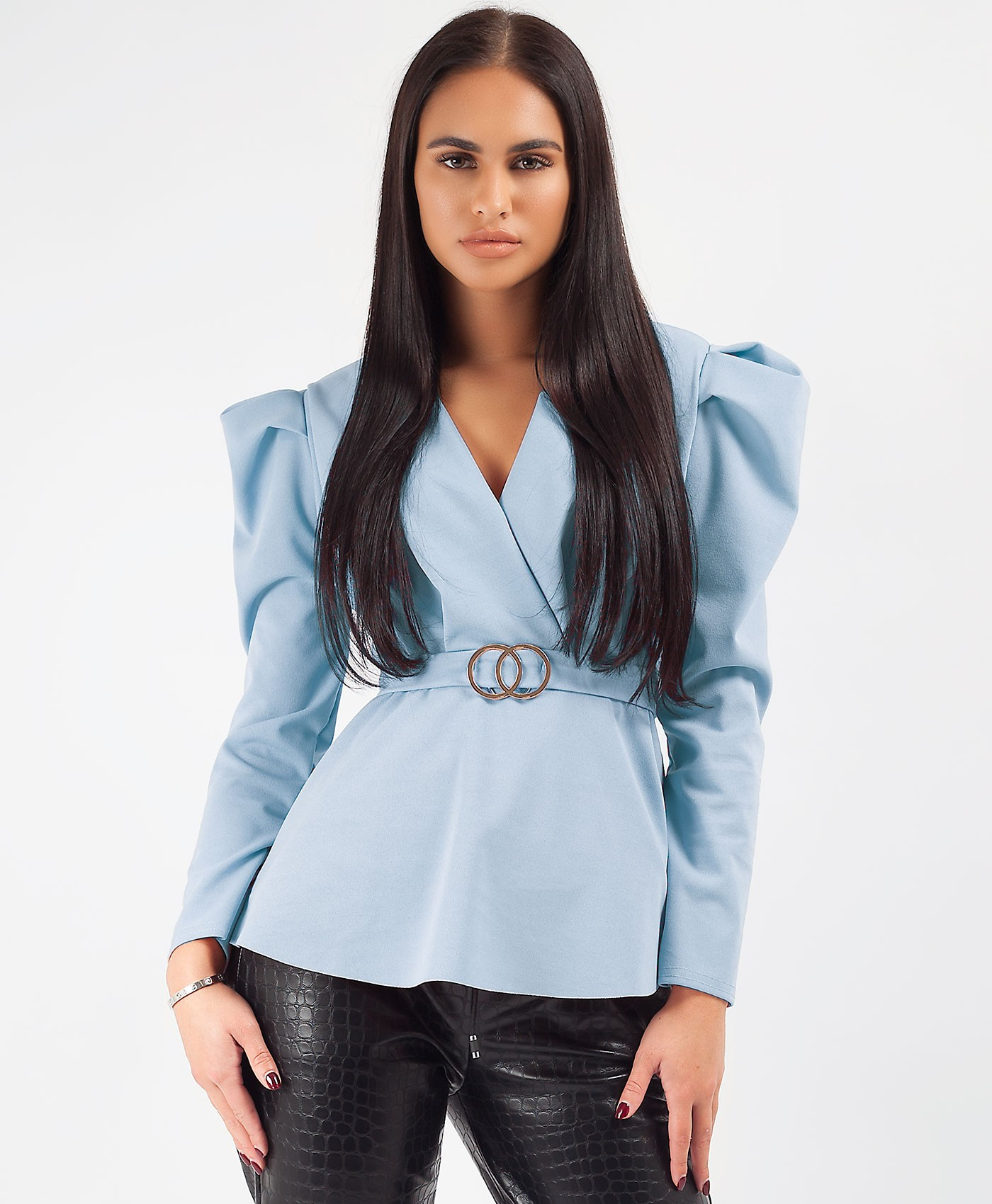 Sky Blue Double Ring Belt Puff Shoulder Blouse Top
