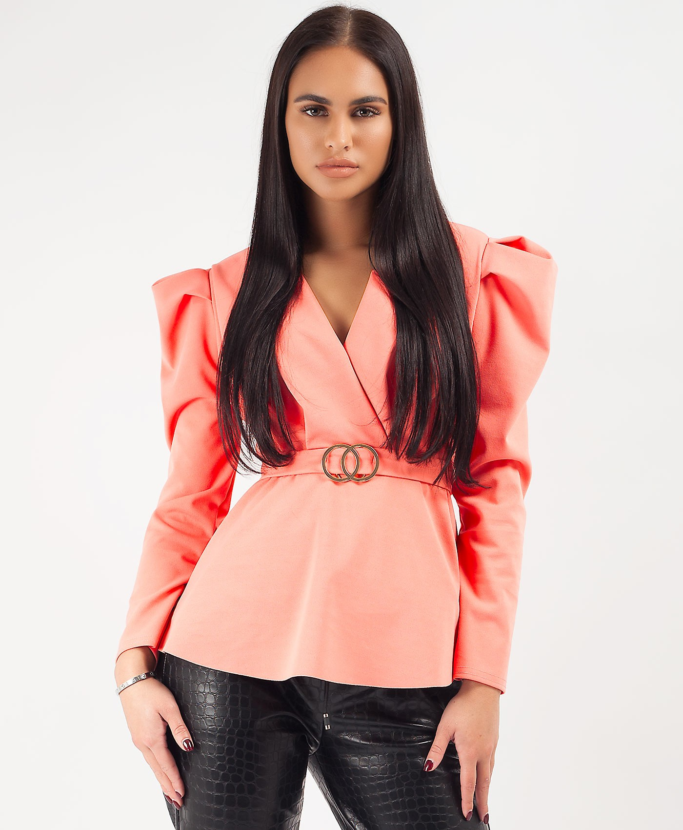 Coral Double Ring Belt Puff Shoulder Blouse Top