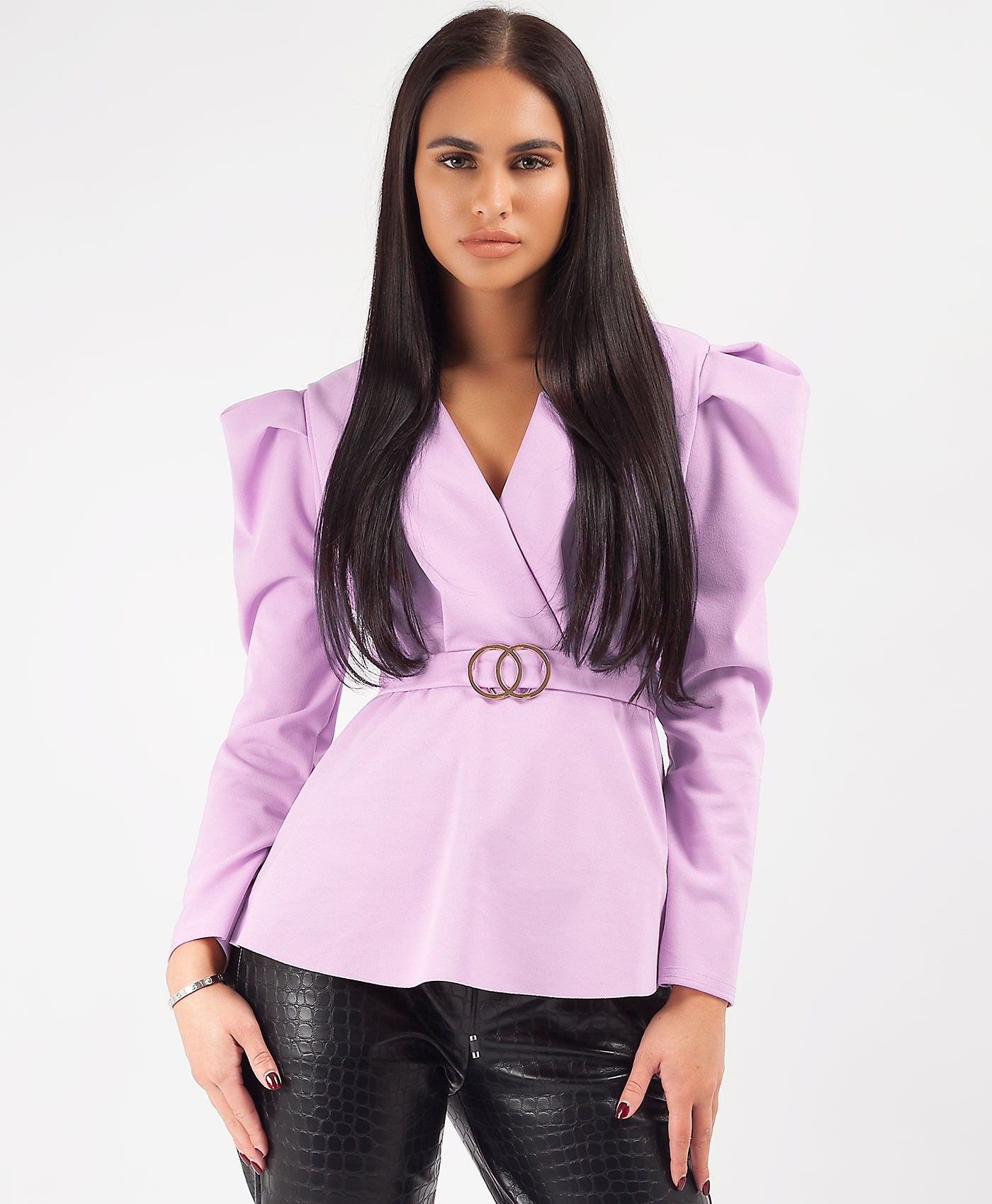 Lilac Double Ring Belt Puff Shoulder Blouse Top