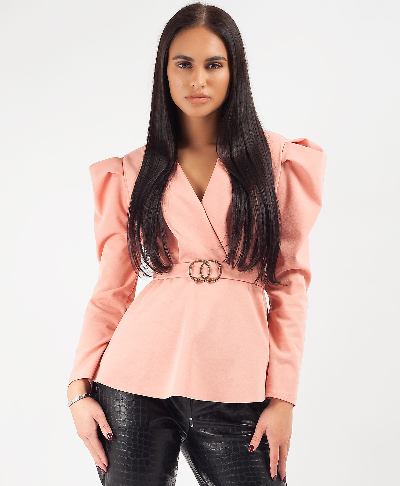 Pink Double Ring Belt Puff Shoulder Blouse Top