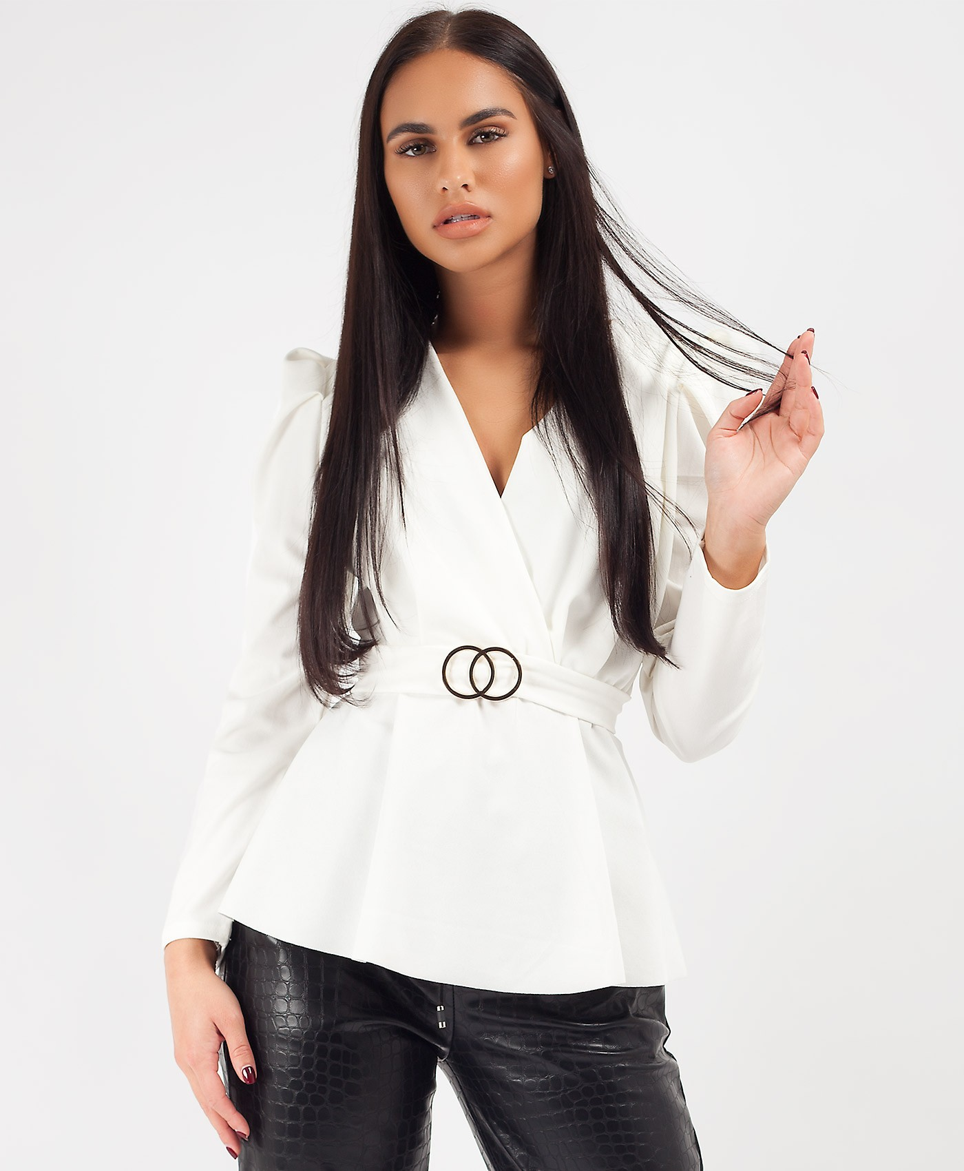 White Double Ring Belt Puff Shoulder Blouse Top