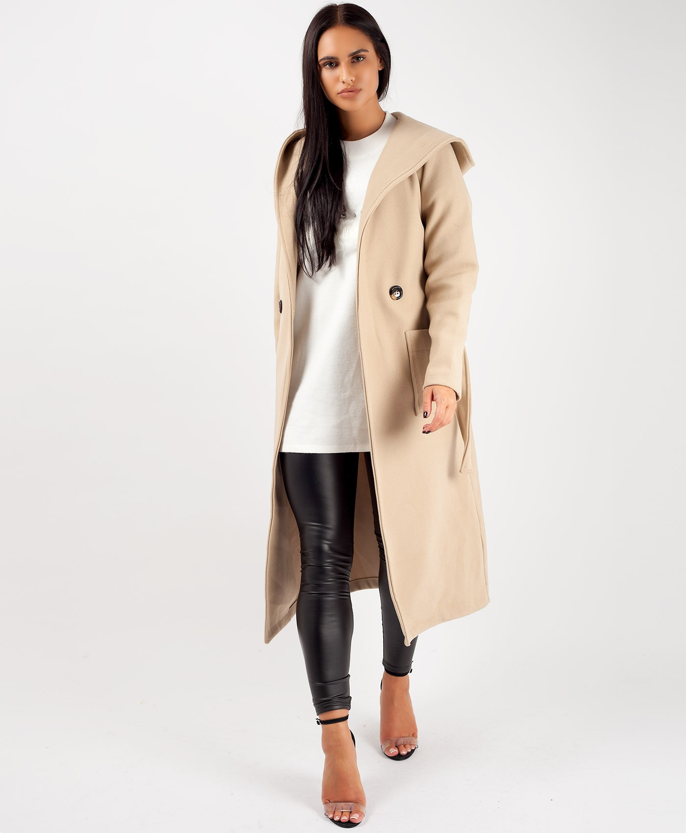 Beige Wrap Over Hooded Belted Duster Trench Coat