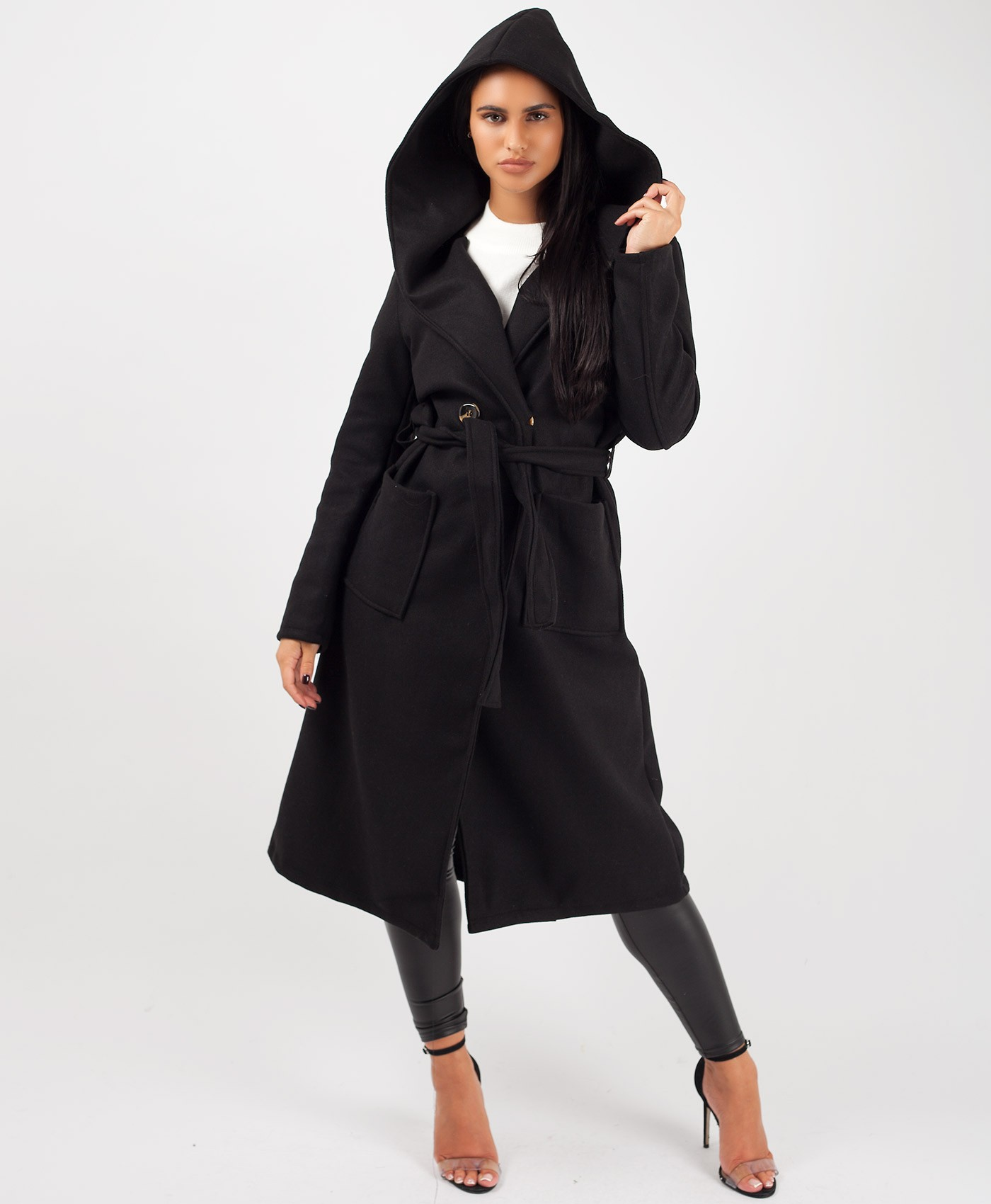 Black Wrap Over Hooded Belted Duster Trench Coat