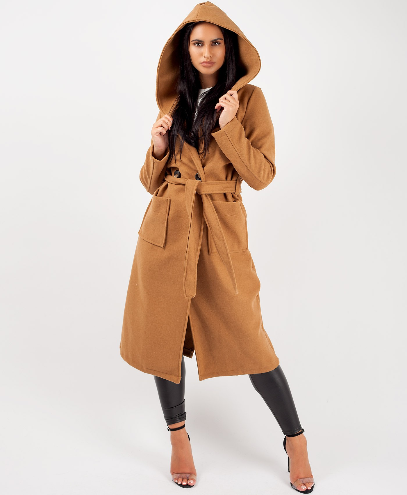 Camel Wrap Over Hooded Belted Duster Trench Coat