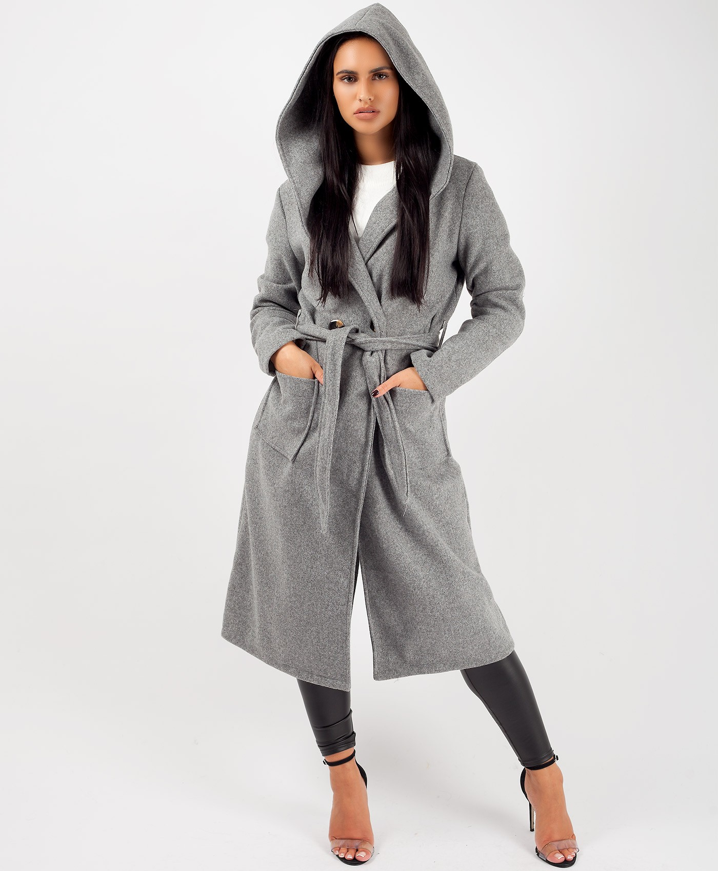Grey Wrap Over Hooded Belted Duster Trench Coat