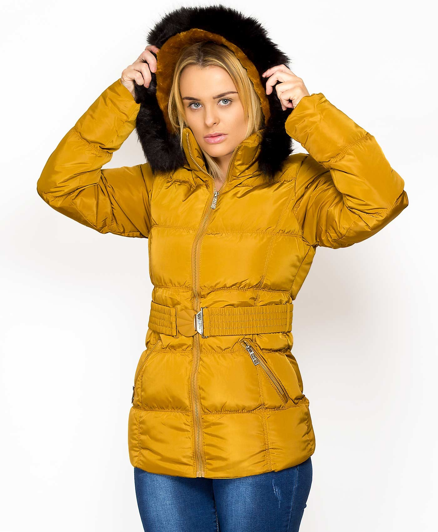 Mustard-Faux-Fur-Lined-Padded-Quilted-Belted-Jacket-1