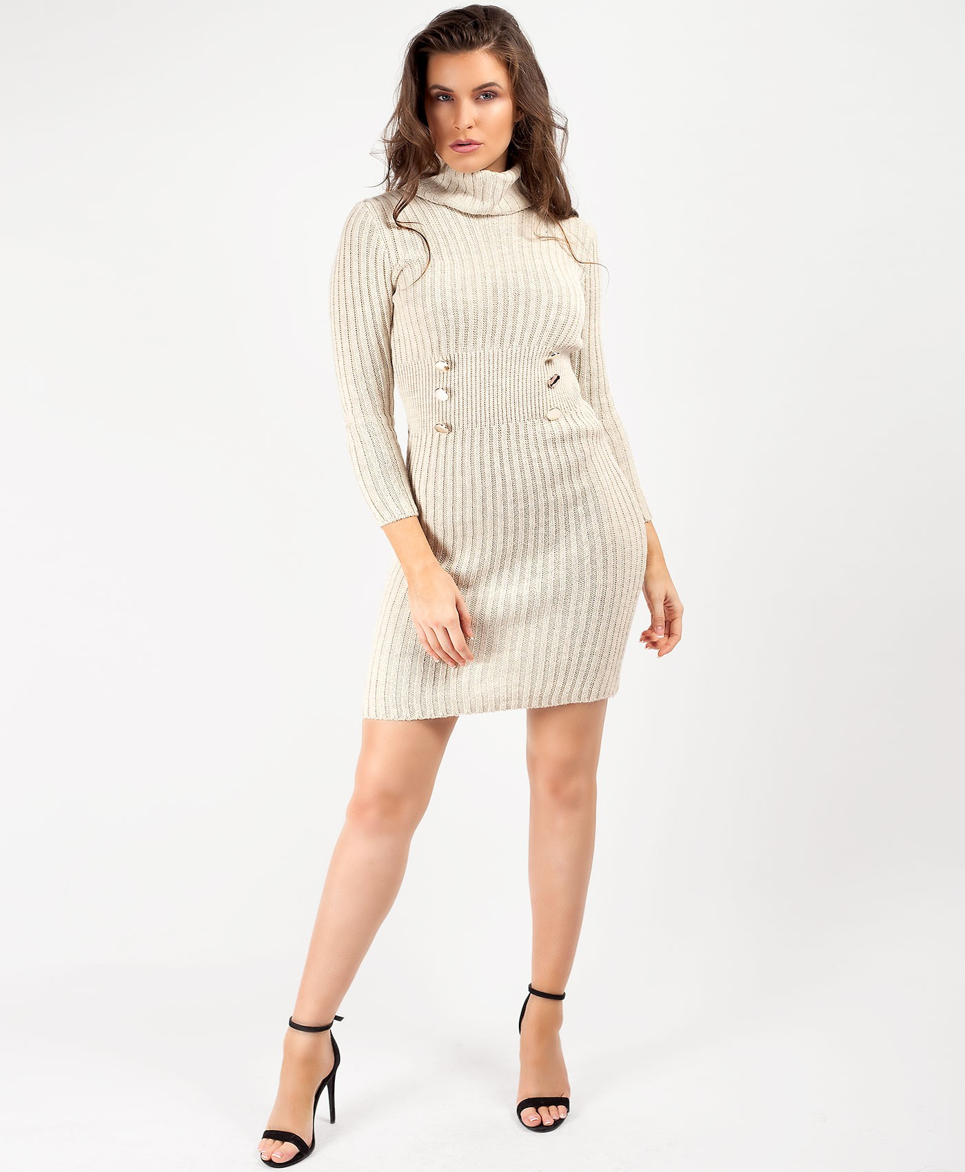 Beige High Neck Military Button Knitted Midi Jumper Dress