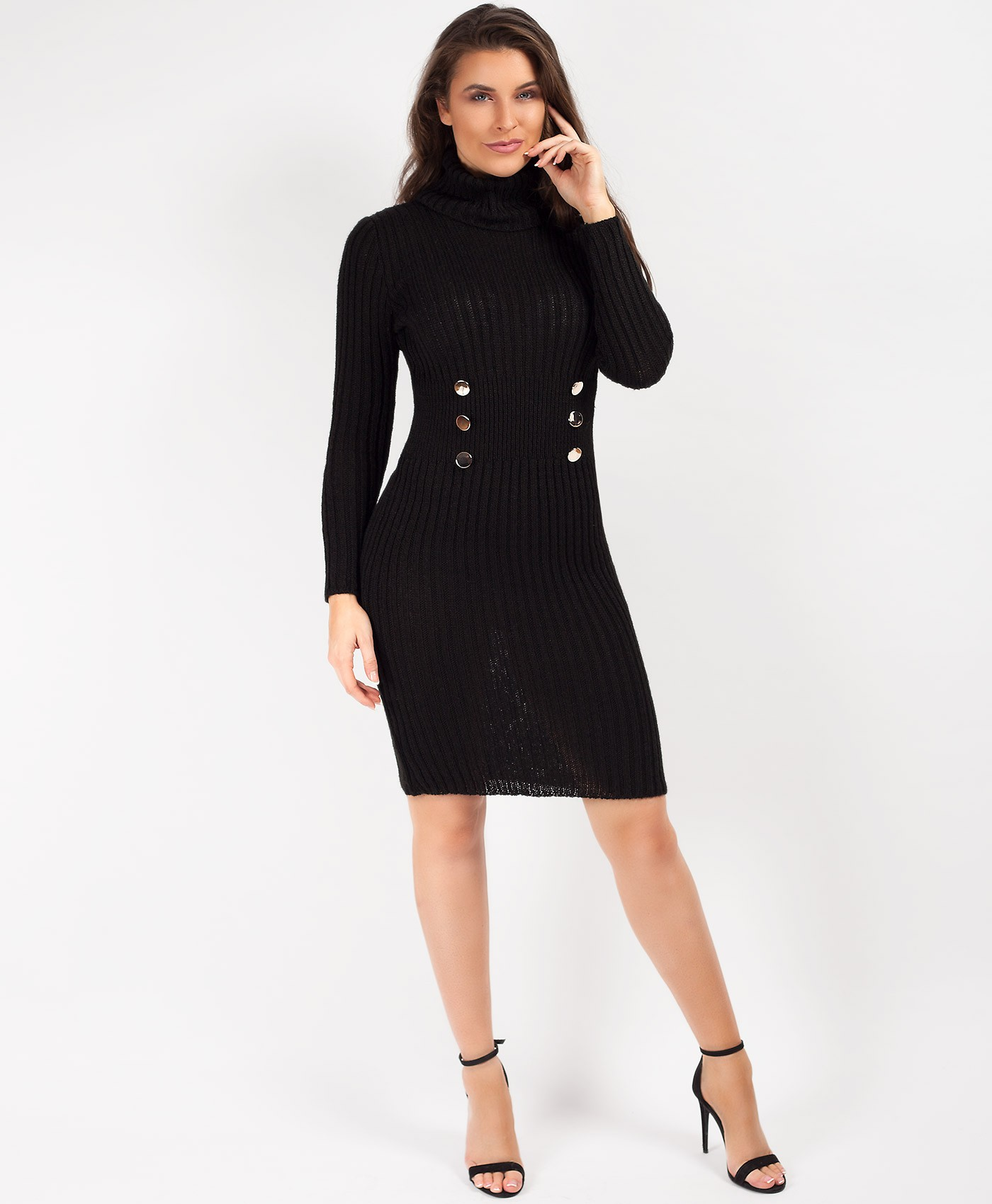 Black High Neck Military Button Knitted Midi Jumper Dress