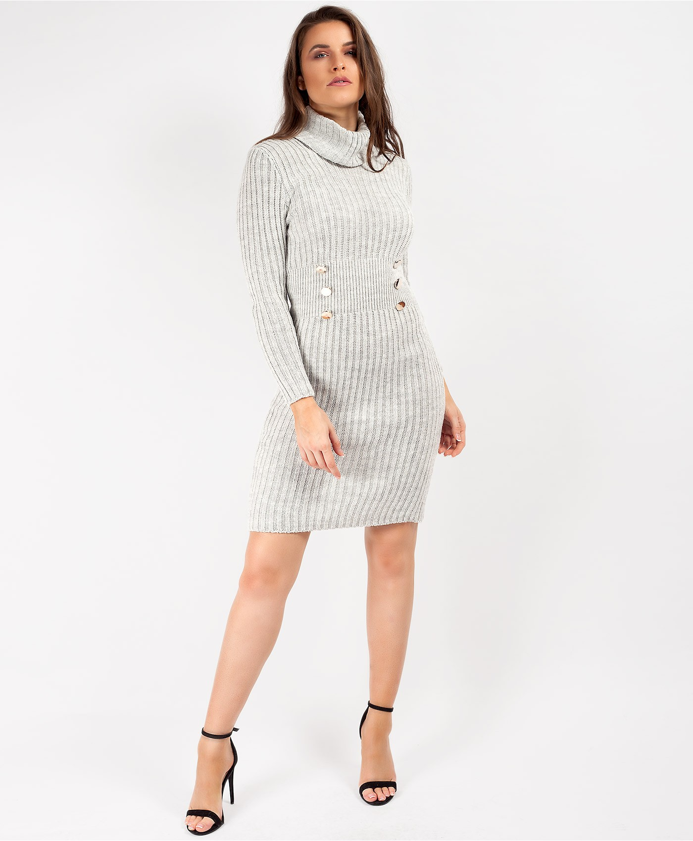 Grey High Neck Military Button Knitted Midi Jumper Dress