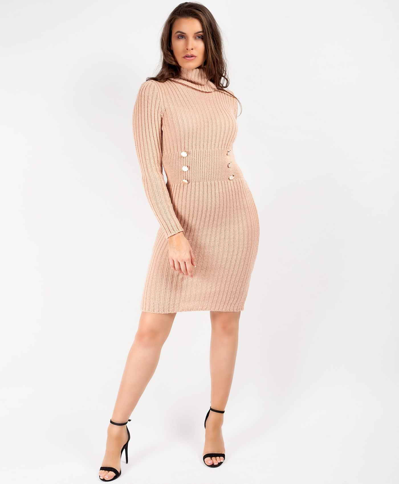Pink High Neck Military Button Knitted Midi Jumper Dress