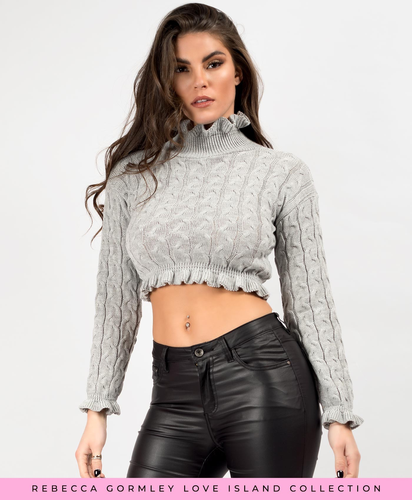 Grey High Neck Frill Cable Knit Cropped Jumper