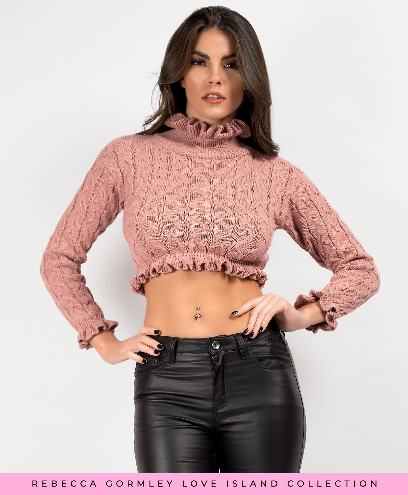 Rose Pink High Neck Frill Cable Knit Cropped Jumper