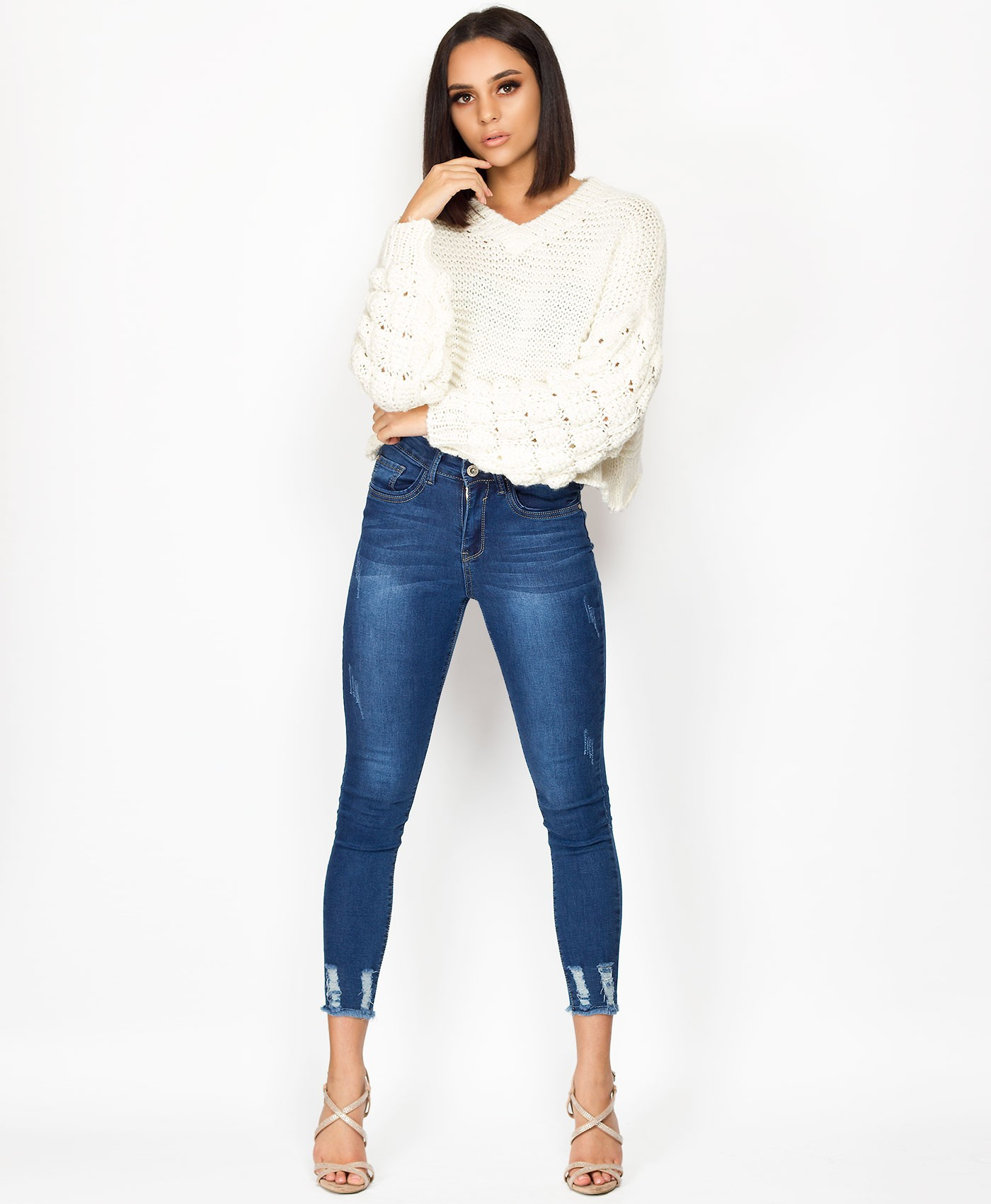 White-Bubble-Sleeve-V-Neck-Cropped-Jumper-1