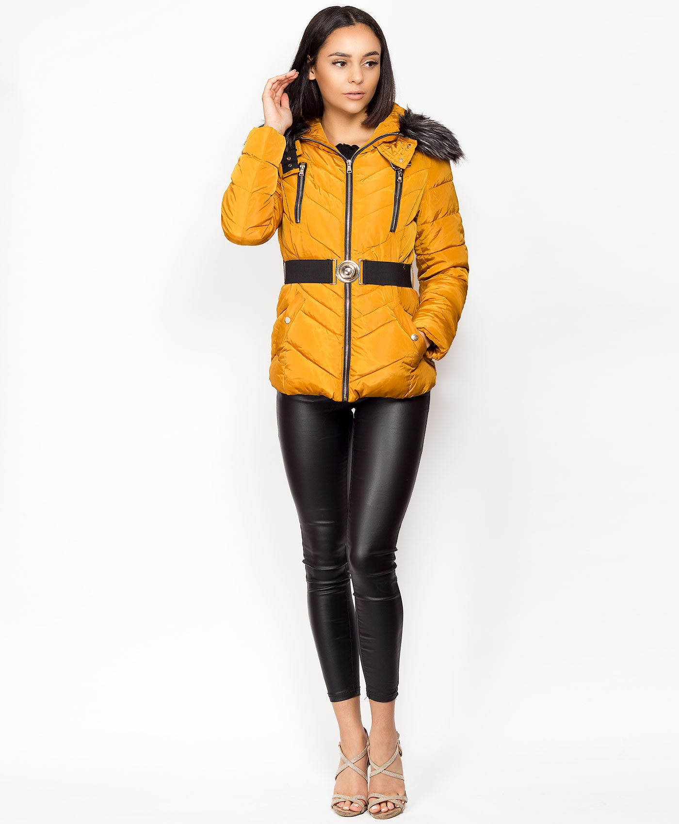 Mustard-Chevron-Quilted-Belted-Double-Zip-Fur-Hooded-Jacket-1