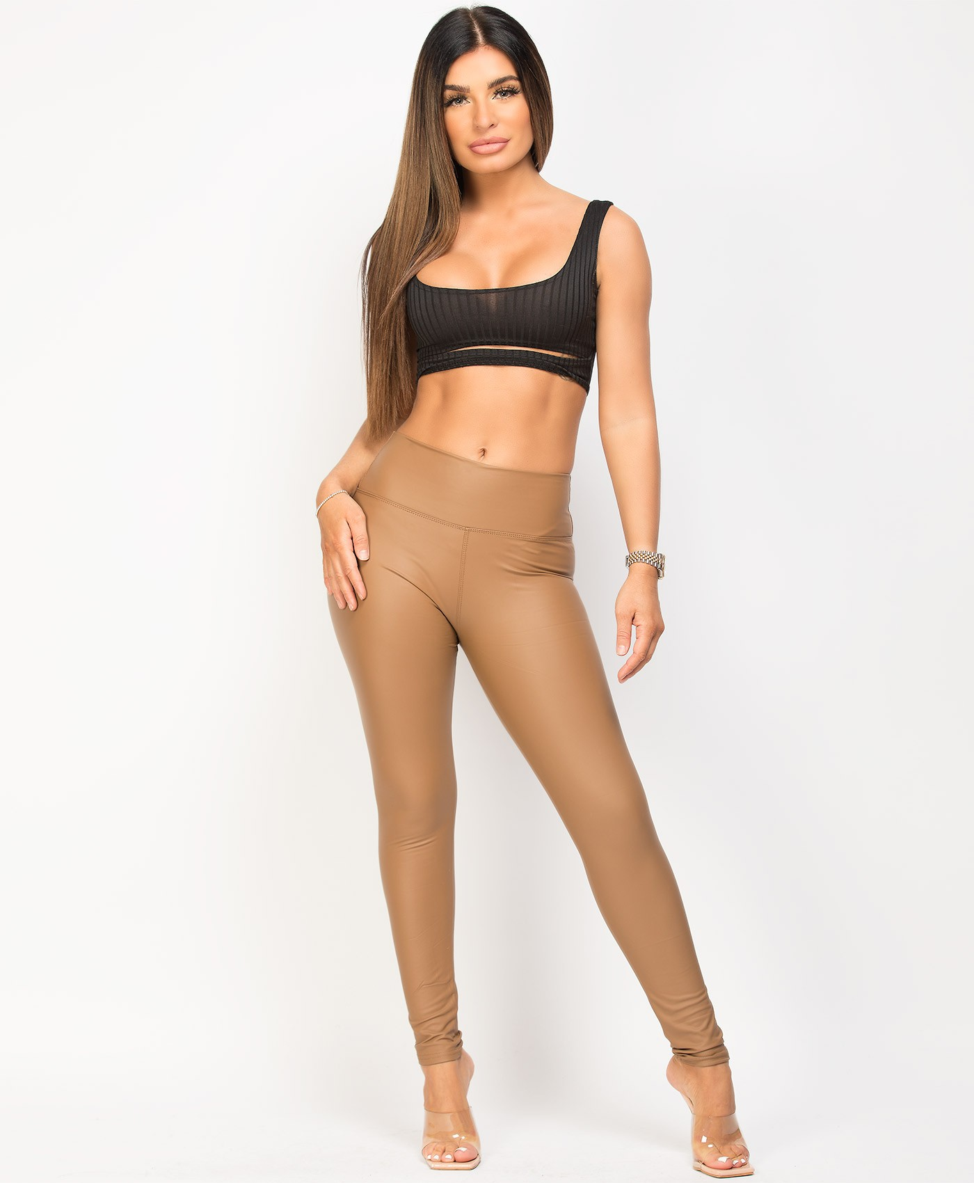 Camel Wet Look Matte Faux Leather Leggings
