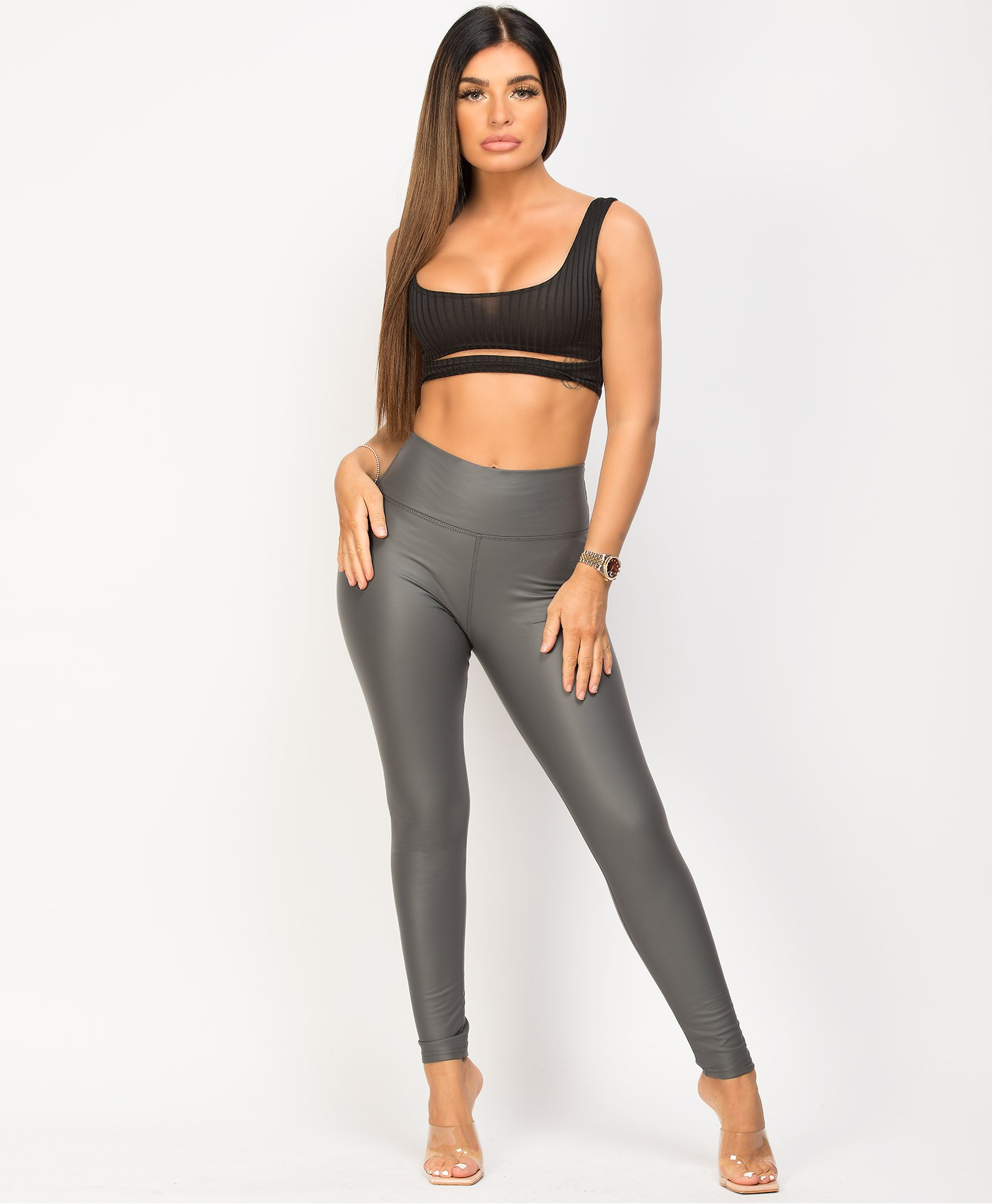 Grey-Matte-Faux-Leather-Wet-Look-Leggings-1
