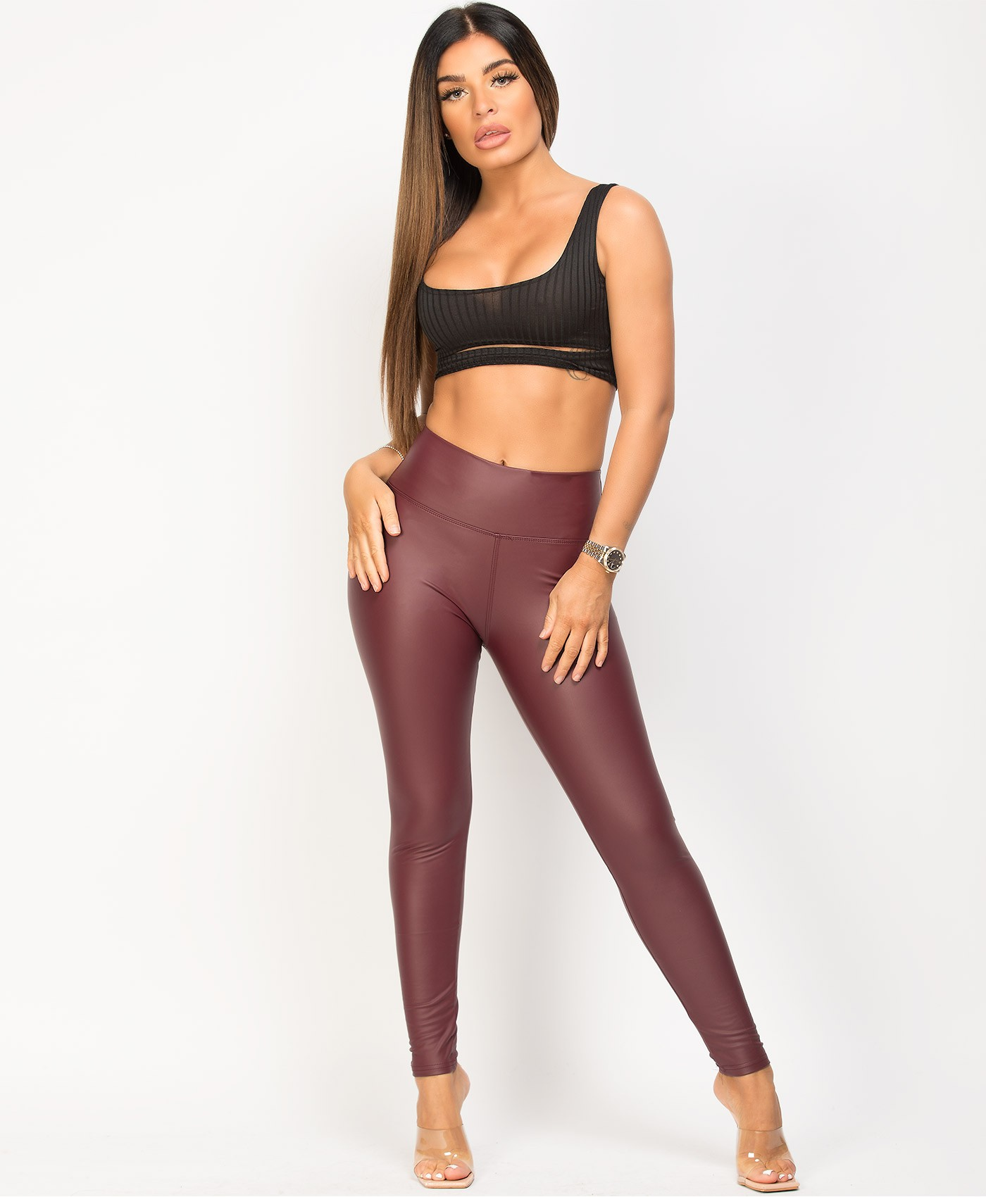 Wine Wet Look Matte Faux Leather Leggings