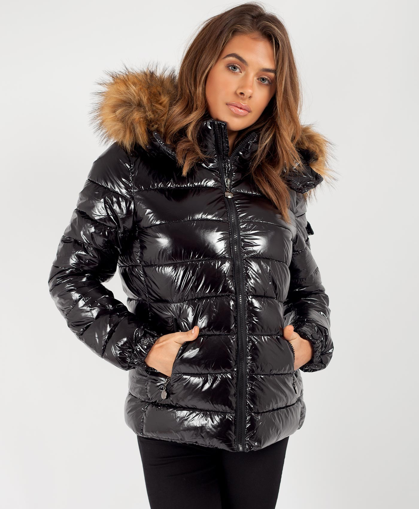 Black-Wet-Look-Shiny-Chunky-Faux-Fur-Hood-Jacket-2