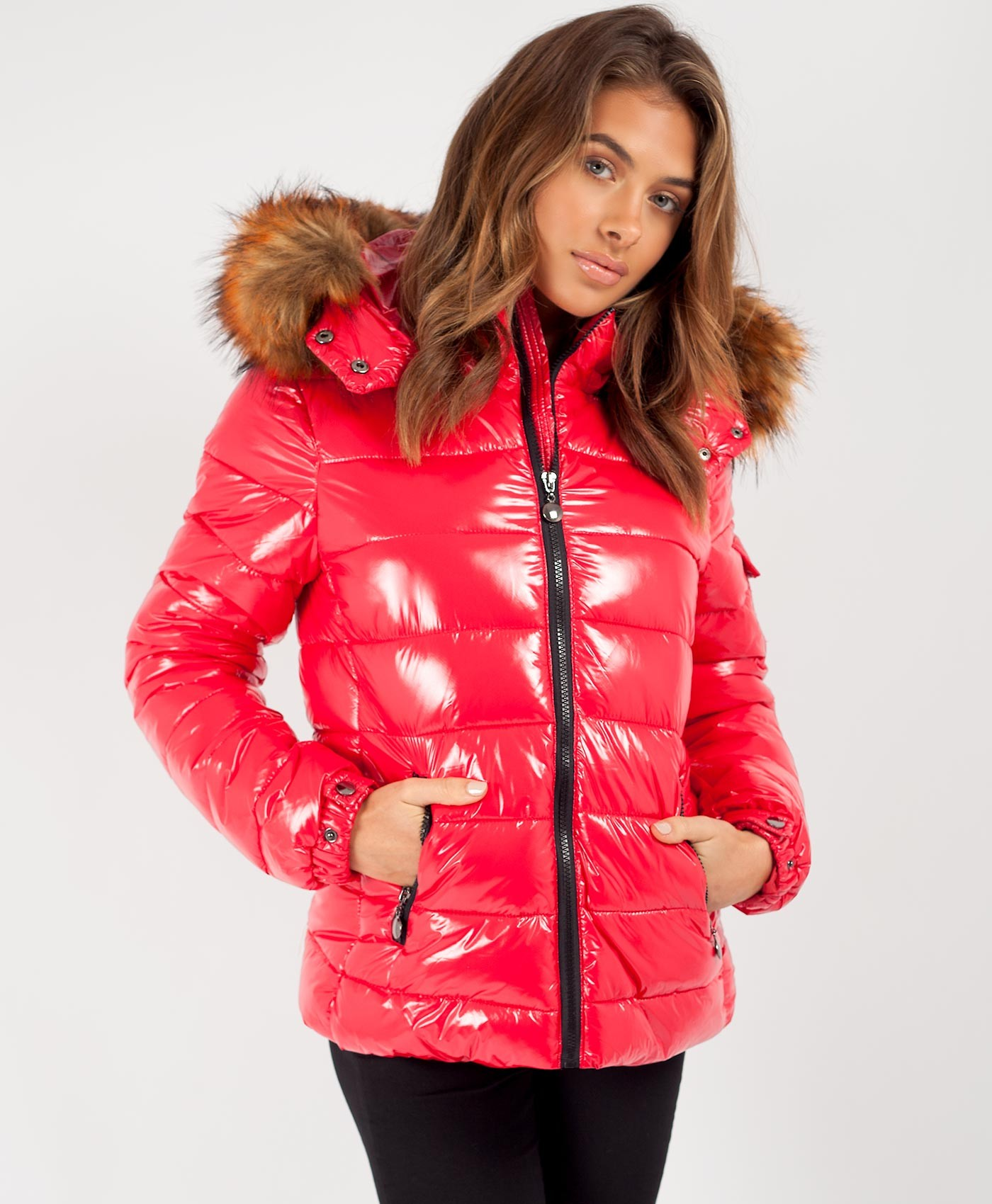 Red-Wet-Look-Shiny-Chunky-Faux-Fur-Hood-Jacket-2