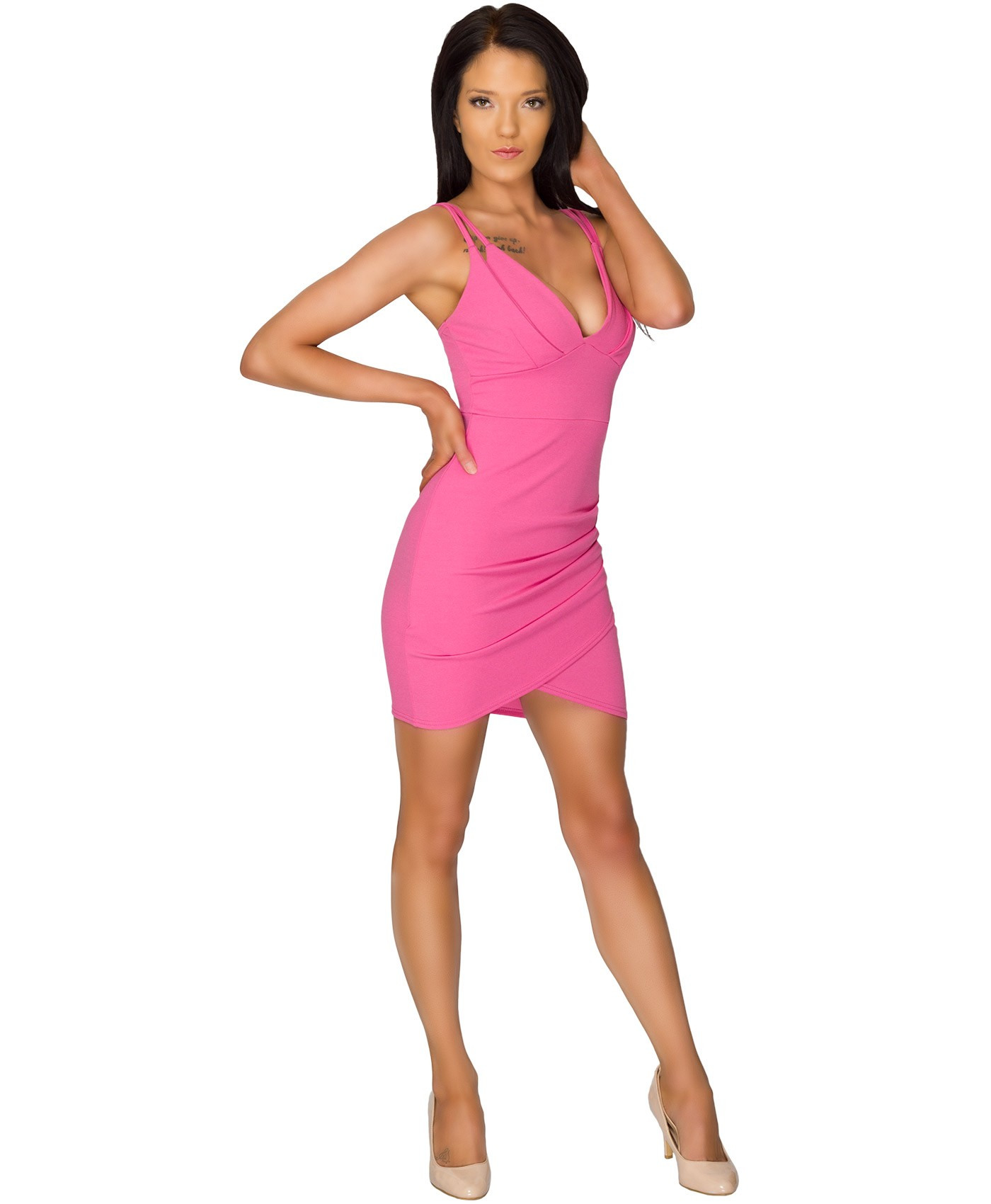 Pink Ruched Cross Over Twin Strap Mini Bodycon Dress 1