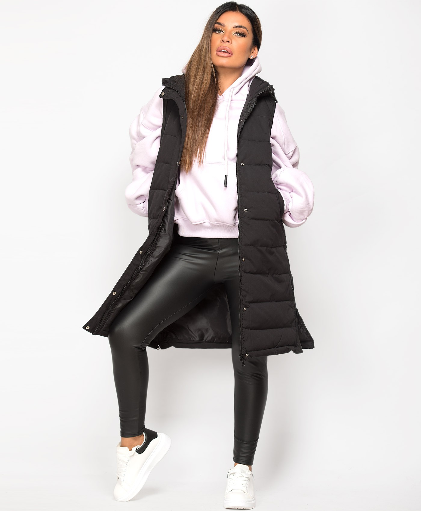 Black Hooded Side Split Quilted Puffer Long Bodywarmer