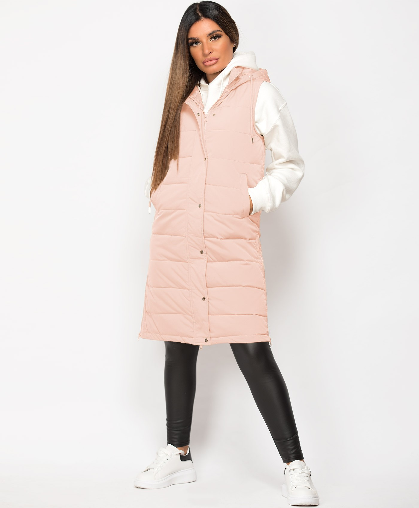 Blush Hooded Side Split Quilted Puffer Long Bodywarmer