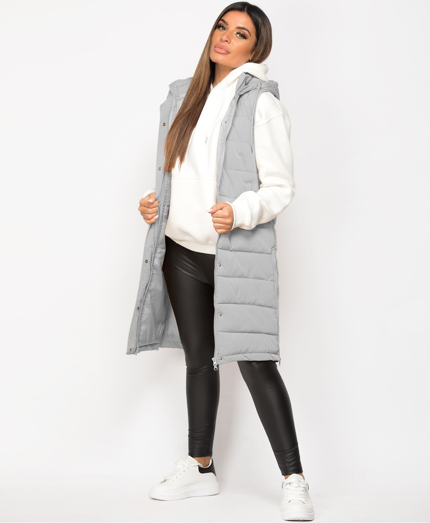Grey Hooded Side Split Quilted Puffer Long Bodywarmer