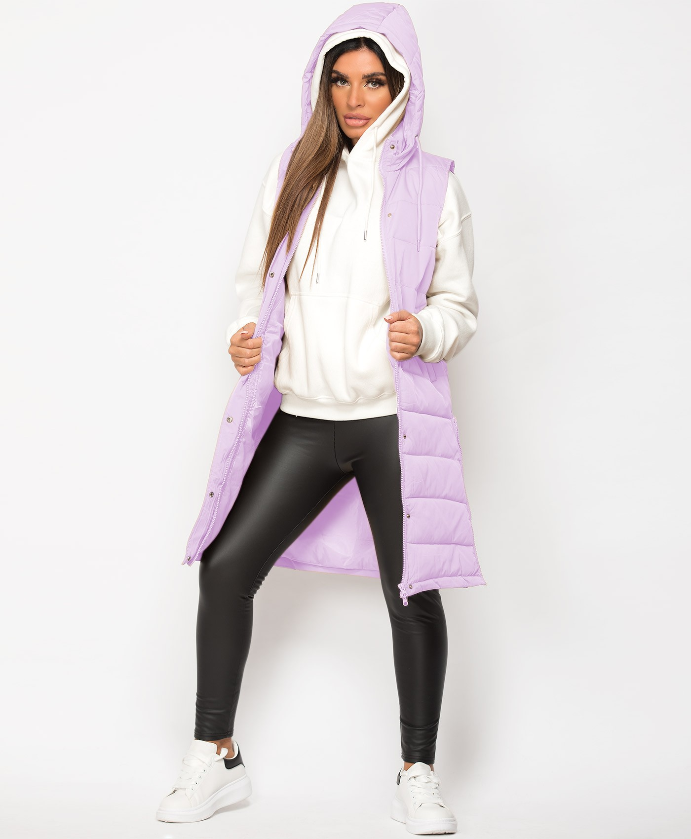 Lilac Hooded Side Split Quilted Puffer Long Bodywarmer