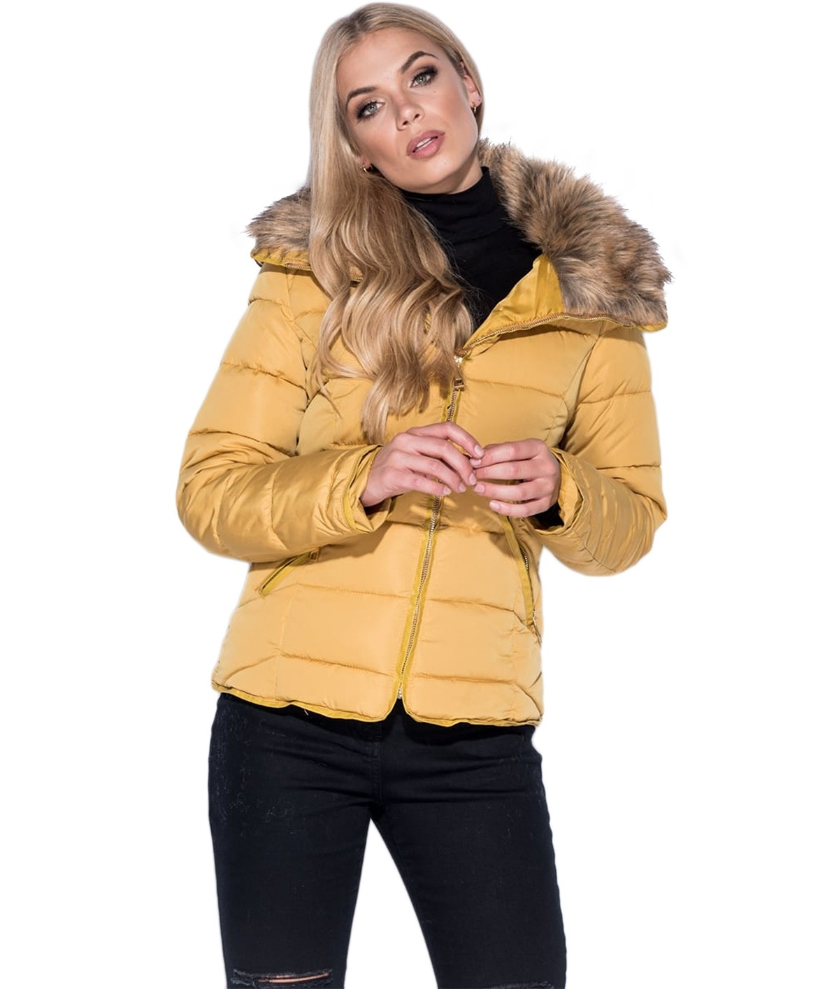 Mustard Fur Collar Quilted Puffer Jacket
