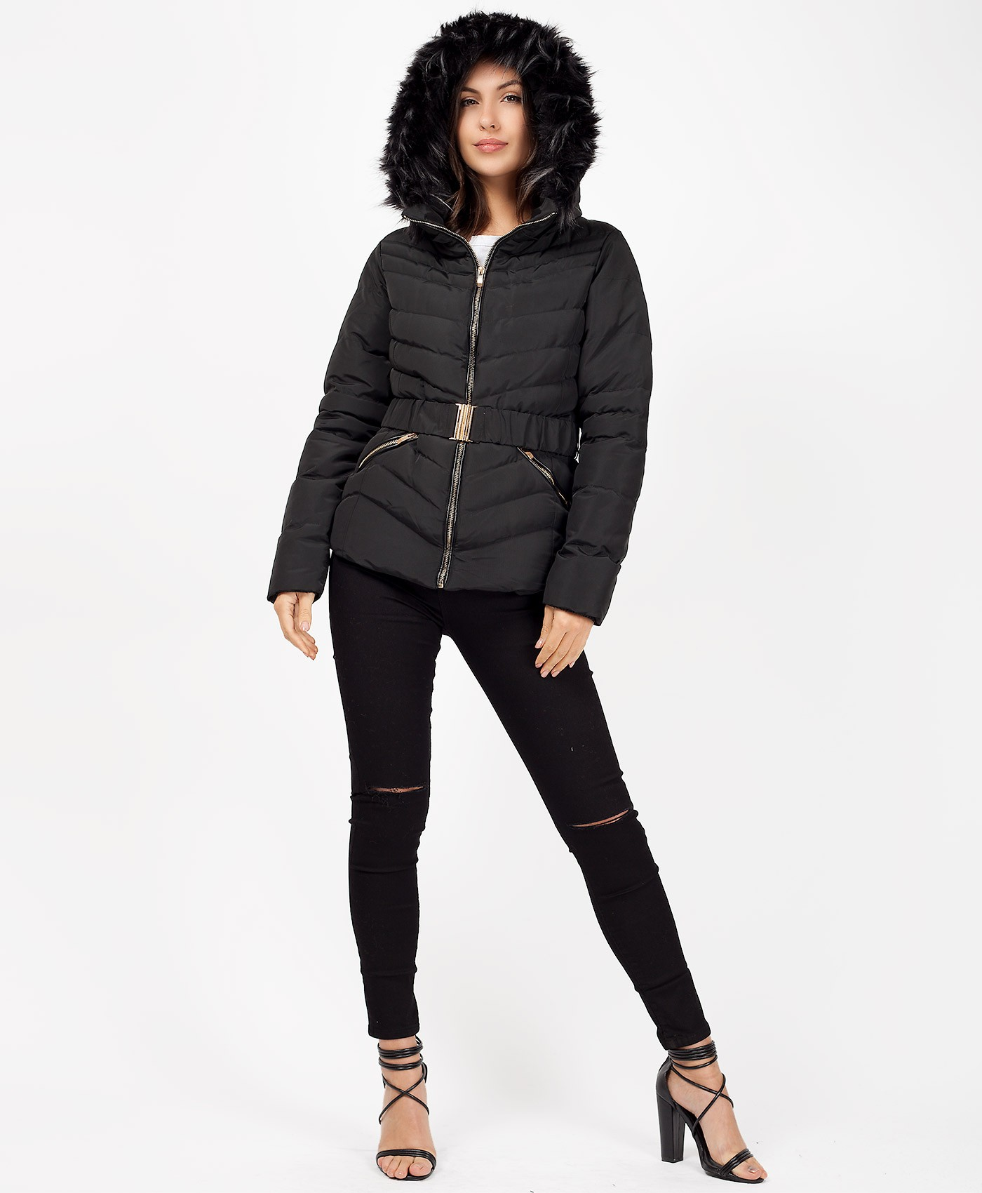 Black-Padded-Fur-Hood-Belted-Chevron-Puffer-Jacket-1