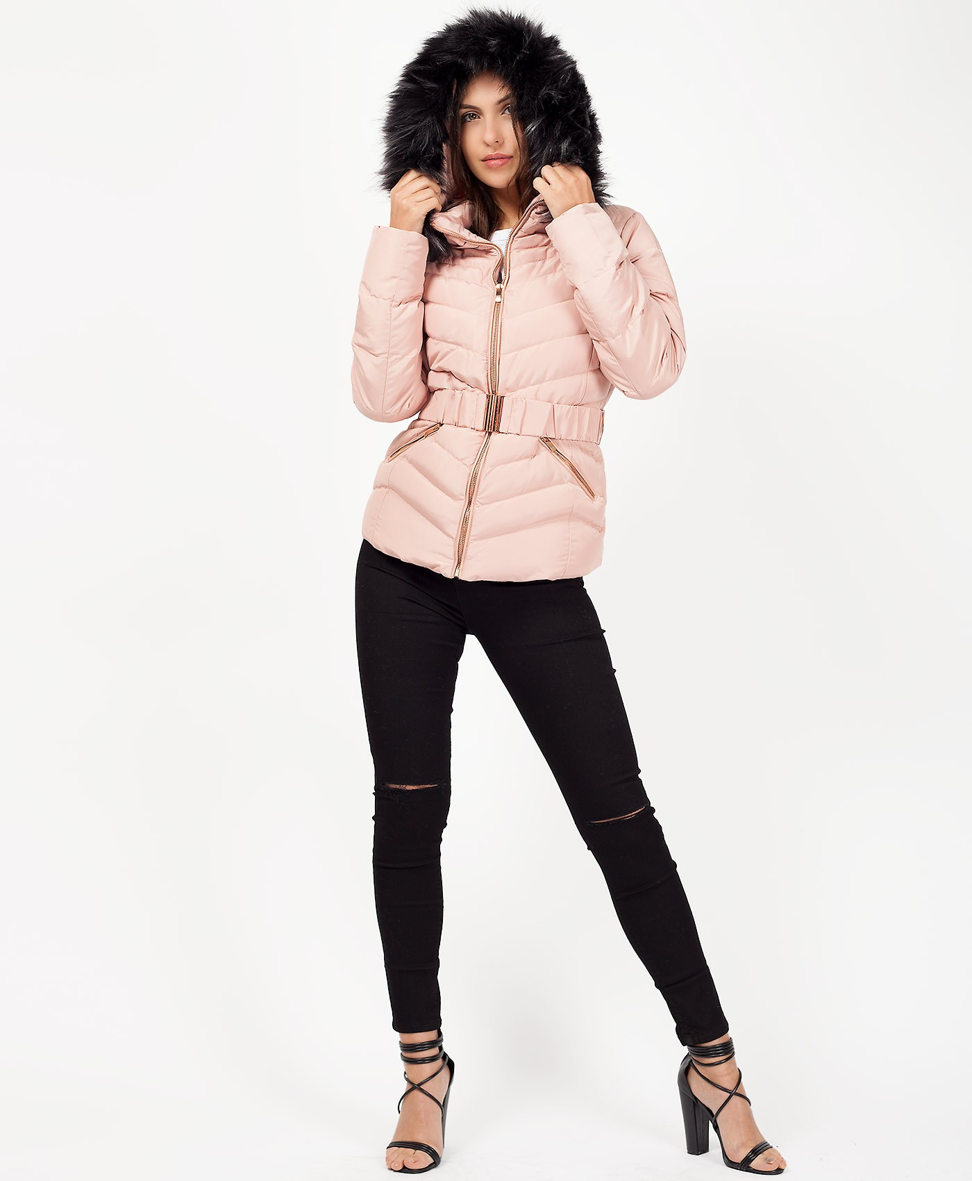 Pink-Padded-Fur-Hood-Belted-Chevron-Puffer-Jacket-1