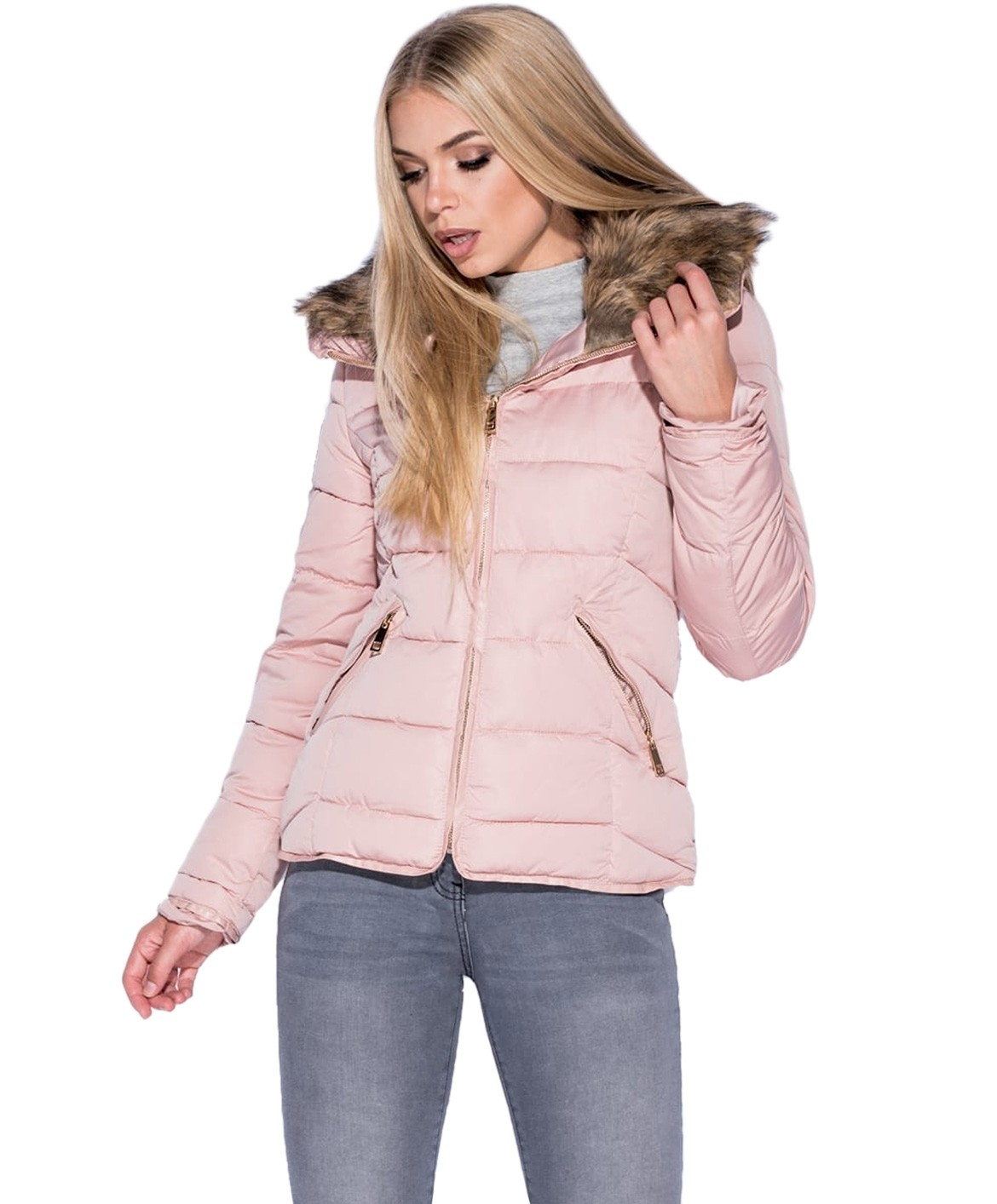 Nude Fur Collar Quilted Puffer Jacket