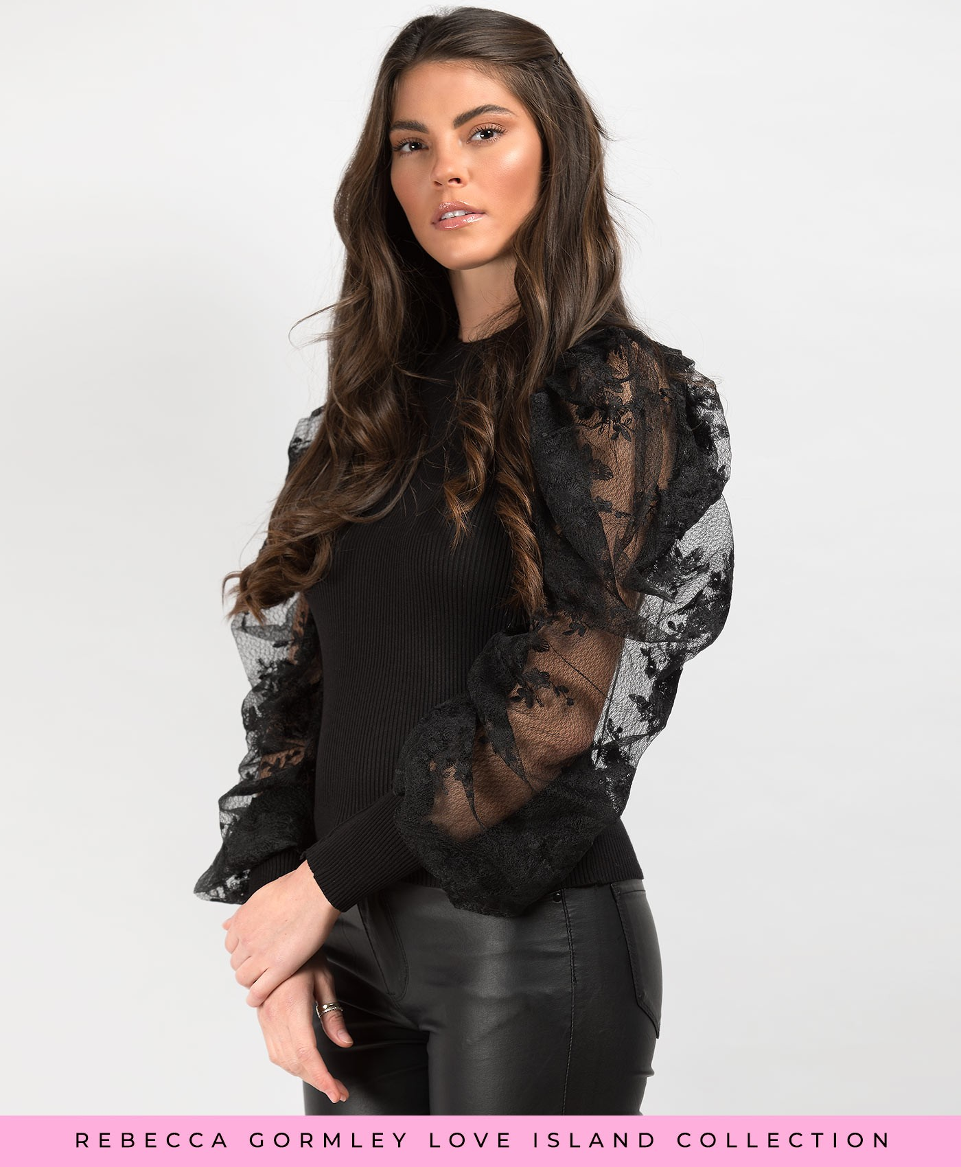 Black-Lace-Puff-Sleeve-Ribbed-Jumper-2