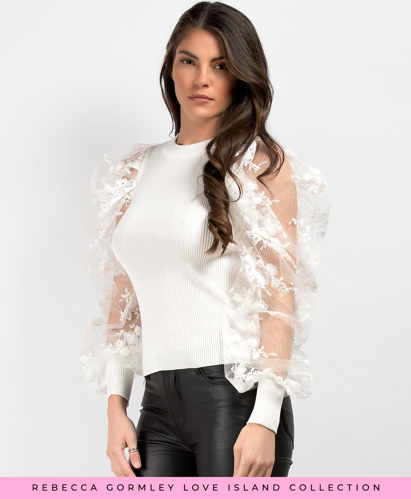 White Lace Puff Sleeve Ribbed Jumper