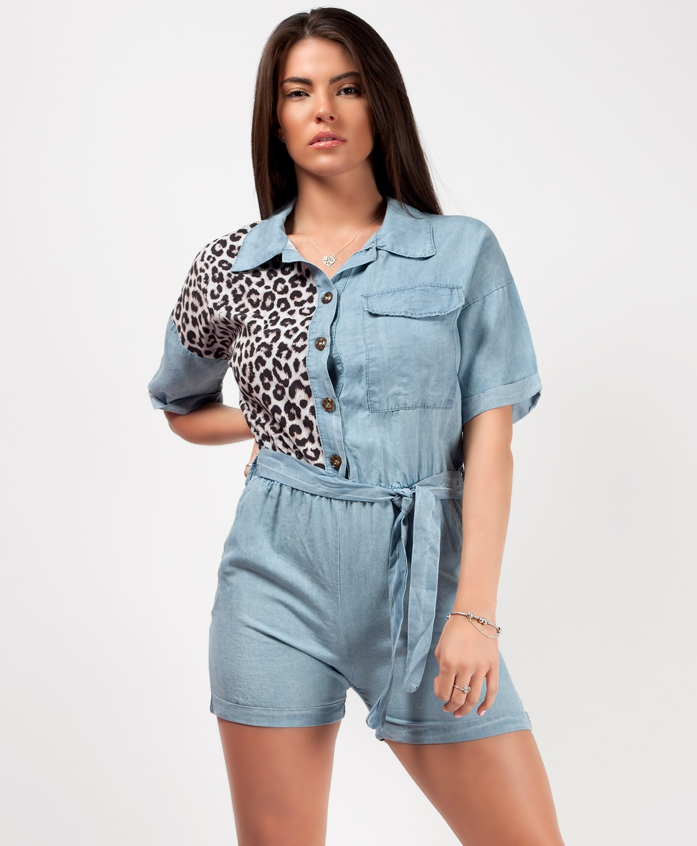 Light Denim Blue Leopard Detail Denim Playsuit