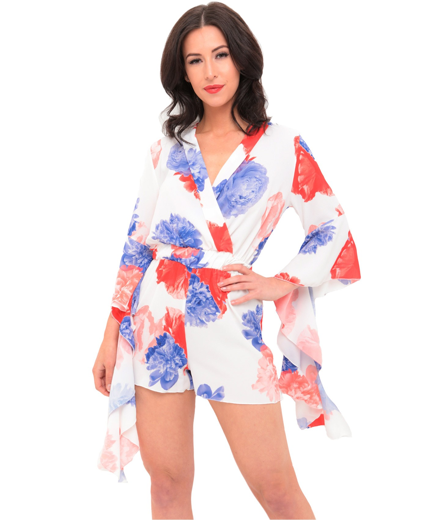Red-Blue-Floral-Frill-Sleeve-Chiffon-Playsuit-1