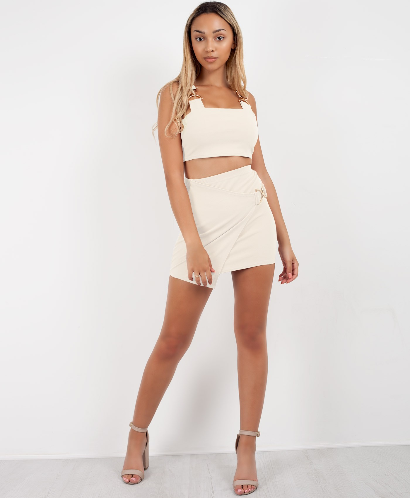 White-D-Buckle-Crop-Top-Wrap-Over-Skirt-Co-Ord-Set-1