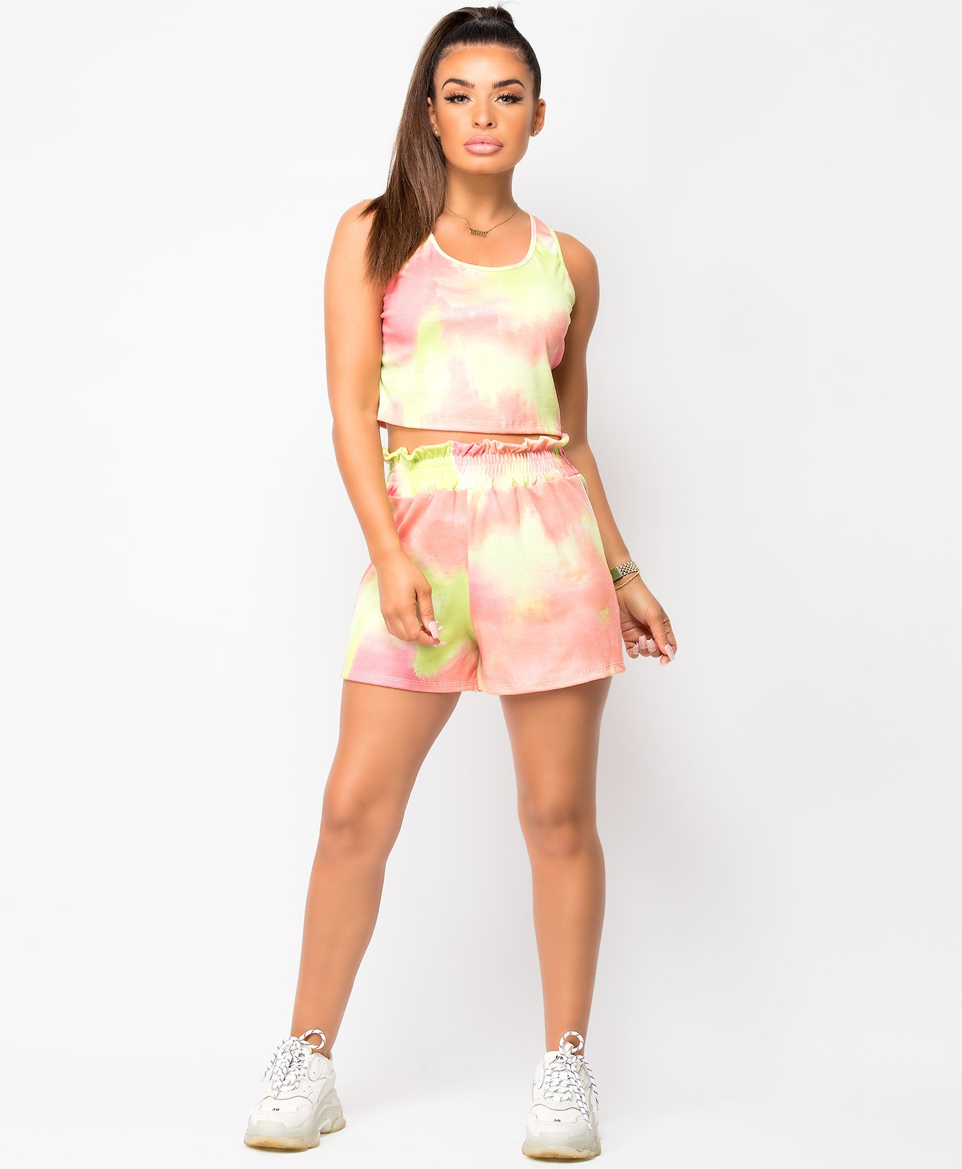 Coral Neon Tie Dye Cropped Vest & Shorts Co Ord Lounge Set