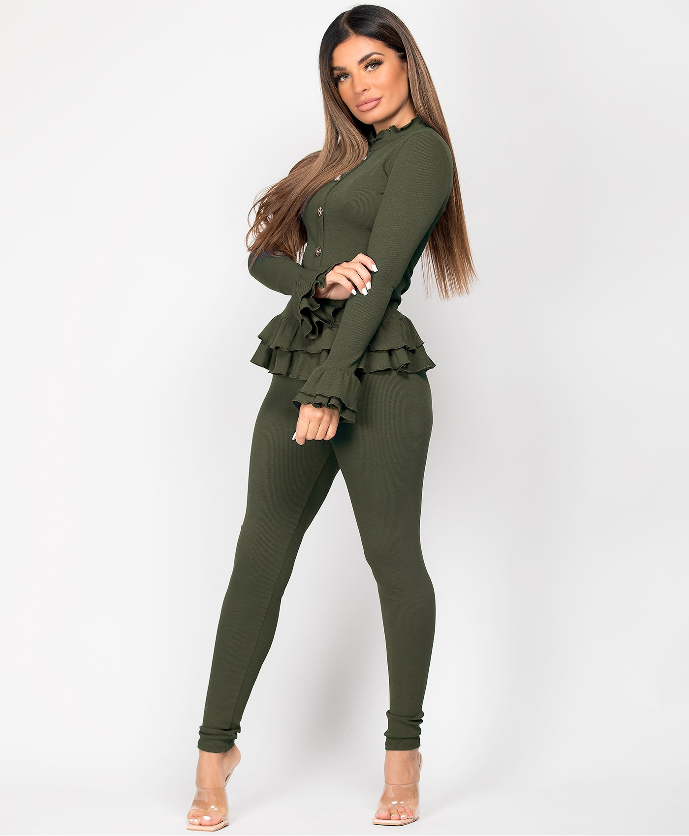 Khaki-Frill-Gold-Button-Ribbed-Loungewear-Set-4