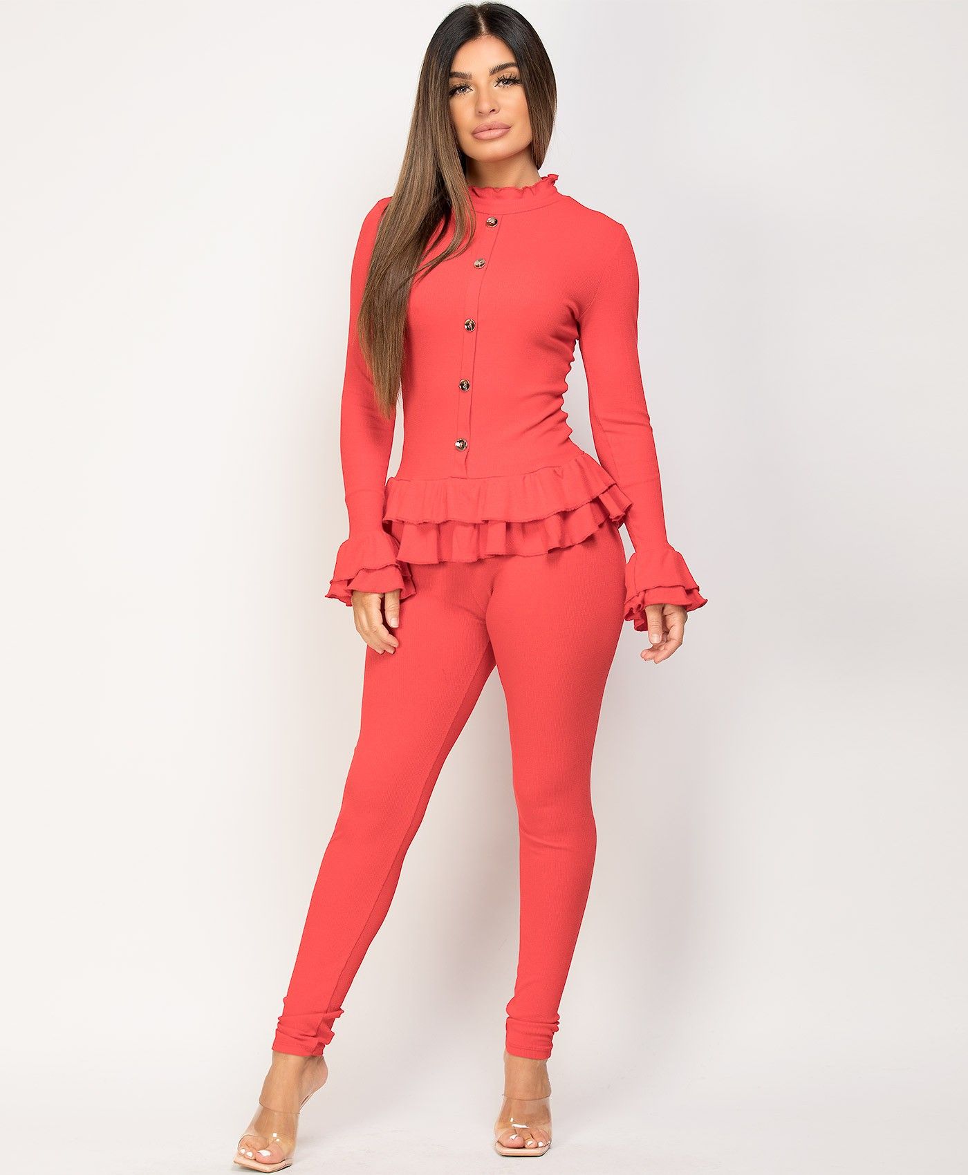 Red-Frill-Gold-Button-Ribbed-Loungewear-Set-4