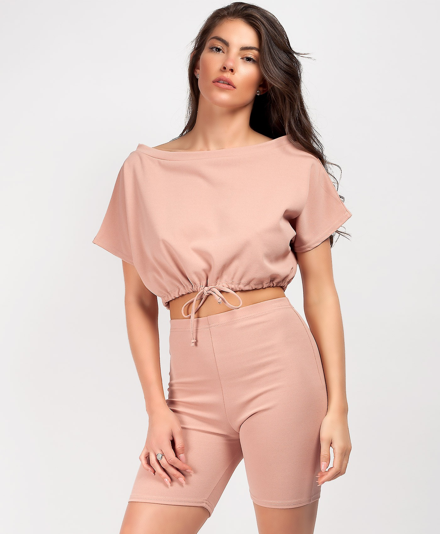 Pink-Boxy-Bardot-Drawstring-Crop-Top-&-Cycling-Short-Co-Ord-2