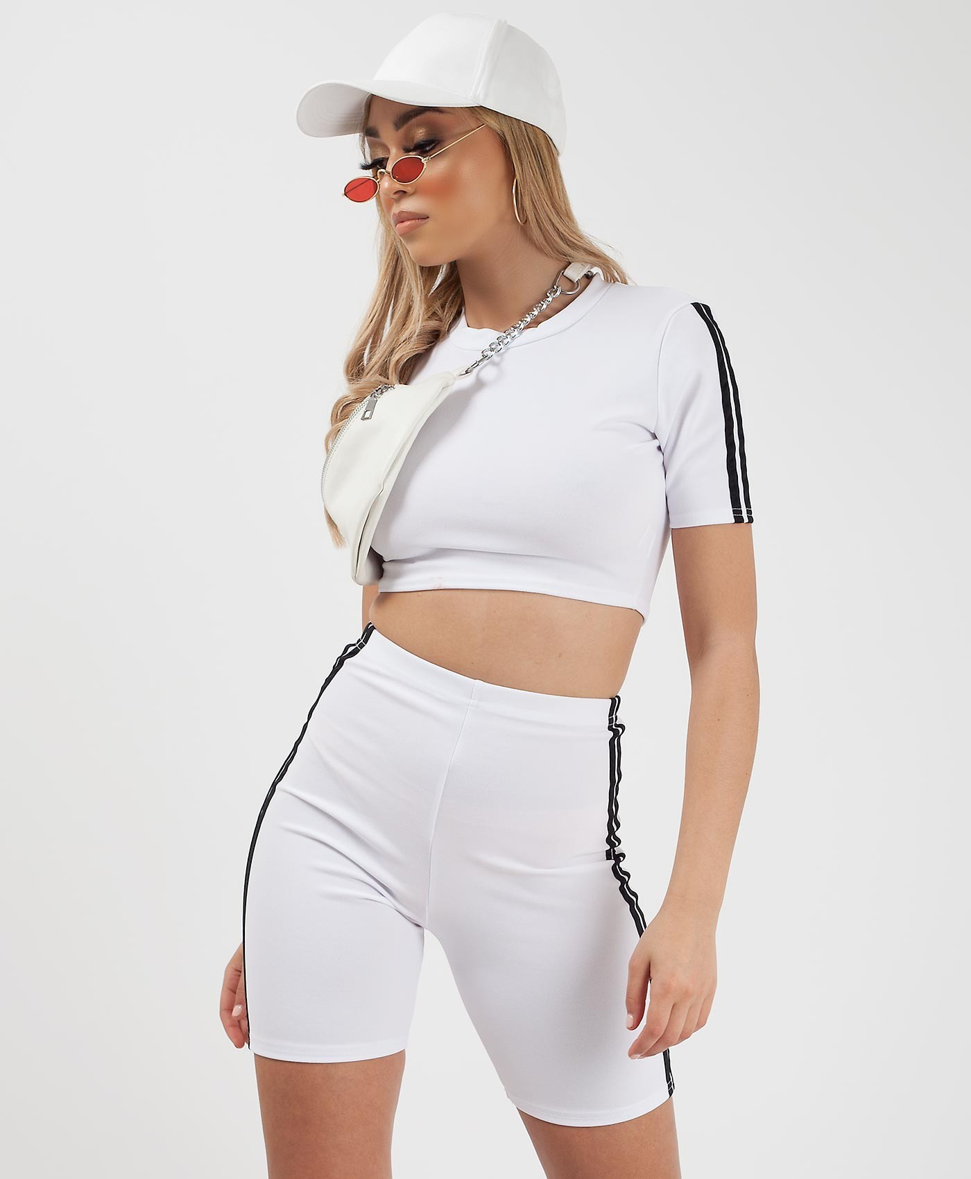 White-Side-Stripe-Crop-Top-&-Cycling-Short-Active-Co-Ord-Set-2