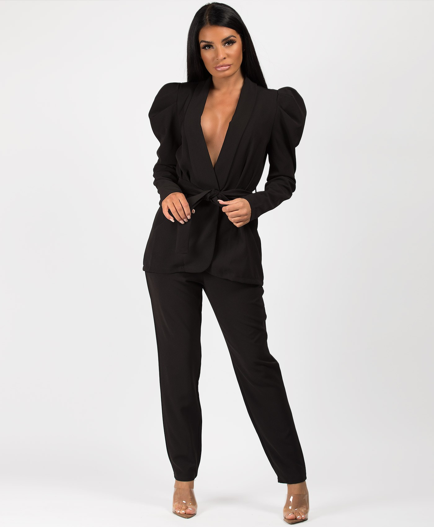 Black Tie Blazer And Trouser Suit Co Ord Set