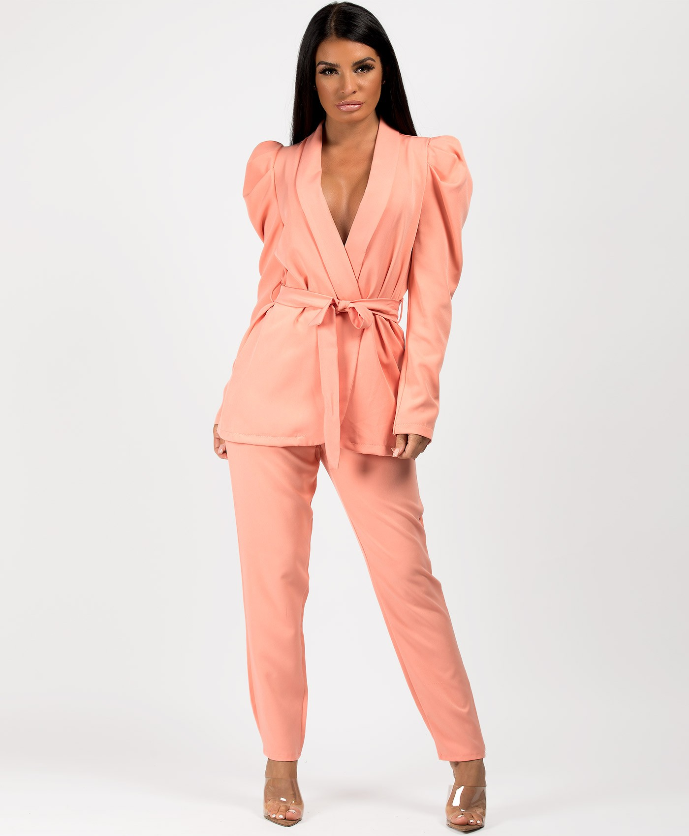 Peach Tie Blazer And Trouser Suit Co Ord Set
