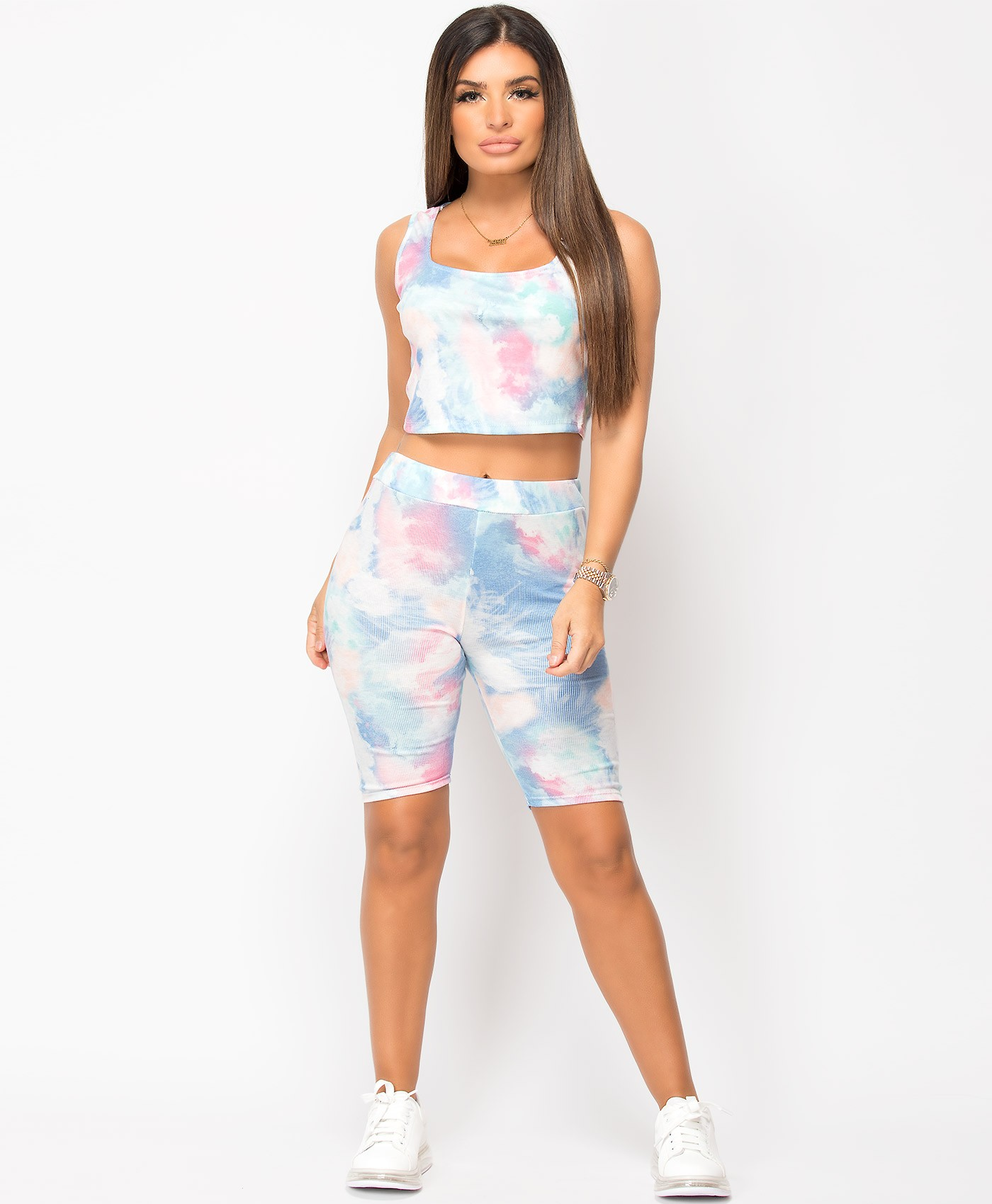 Blue Tie Dye Ribbed Vest & Cycling Short Co Ord Set